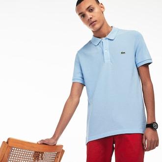 라코스테 Lacoste Mens Petit Pique Slim Fit Polo Shirt,Light Blue - G5J