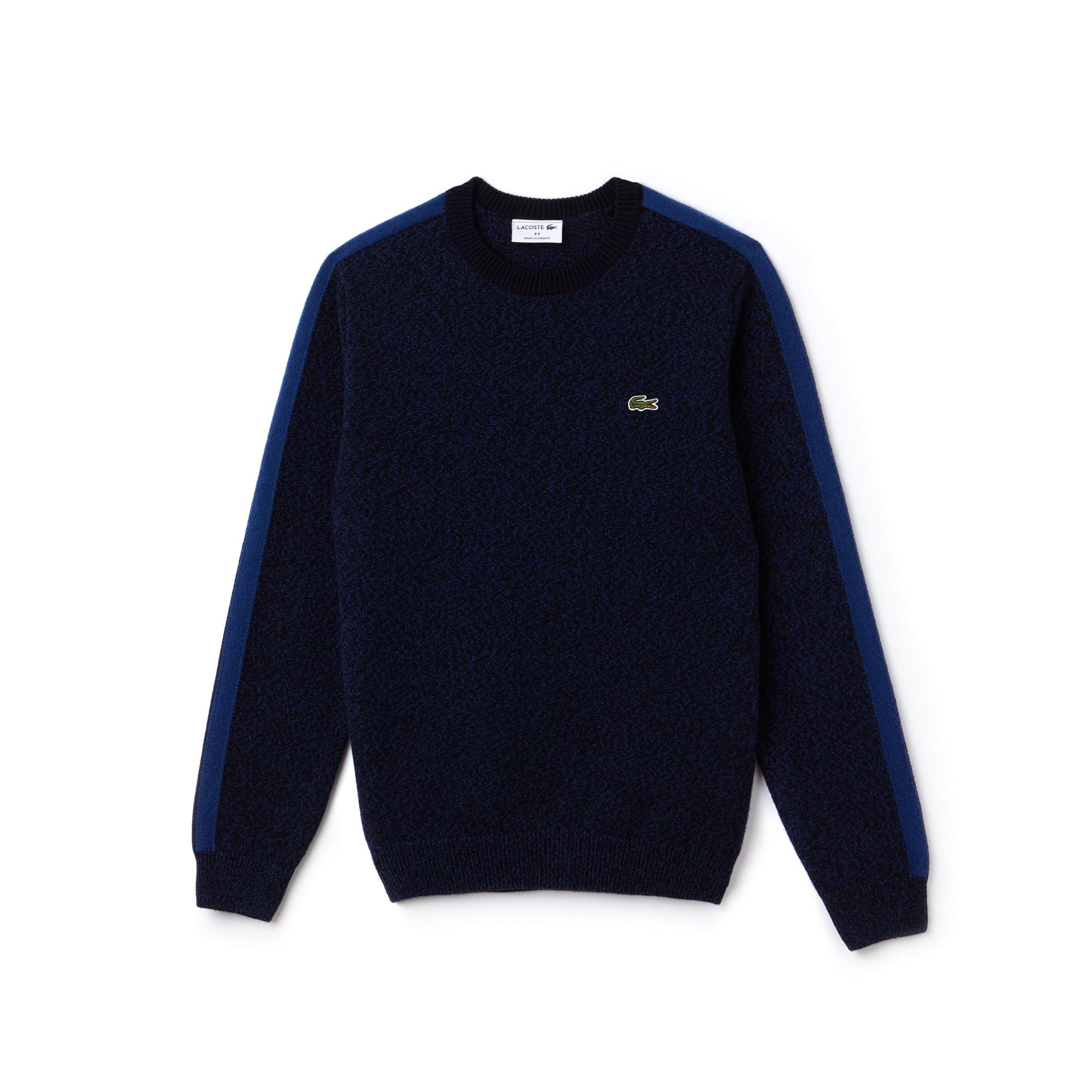 라코스테 콘트라스트 밴드 크루넥 스웨터 네이비 Lacoste Mens Made In France Crew Neck Contrast Band Jersey Sweater,encrier mouline/inkwell-n AH9163-51