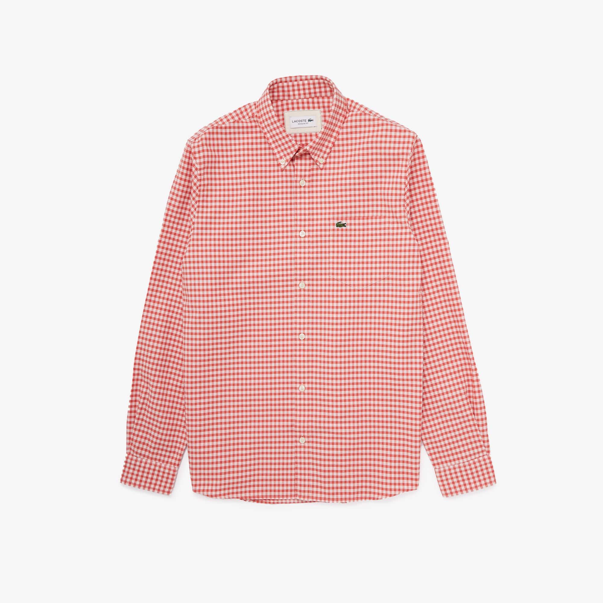라코스테 Lacoste Mens Regular Fit Small Check Oxford Cotton Shirt