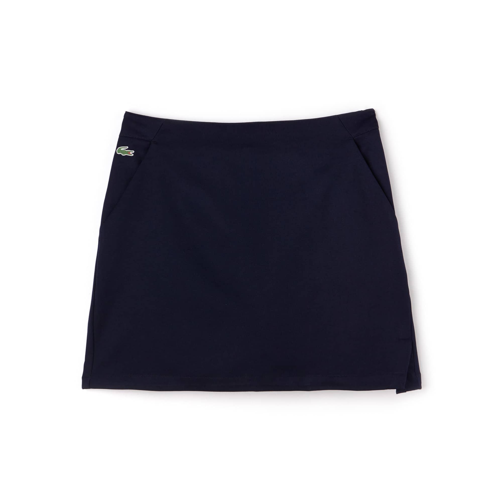 라코스테 Lacoste Womens SPORT Technical Gabardine Golf Skirt,navy blue
