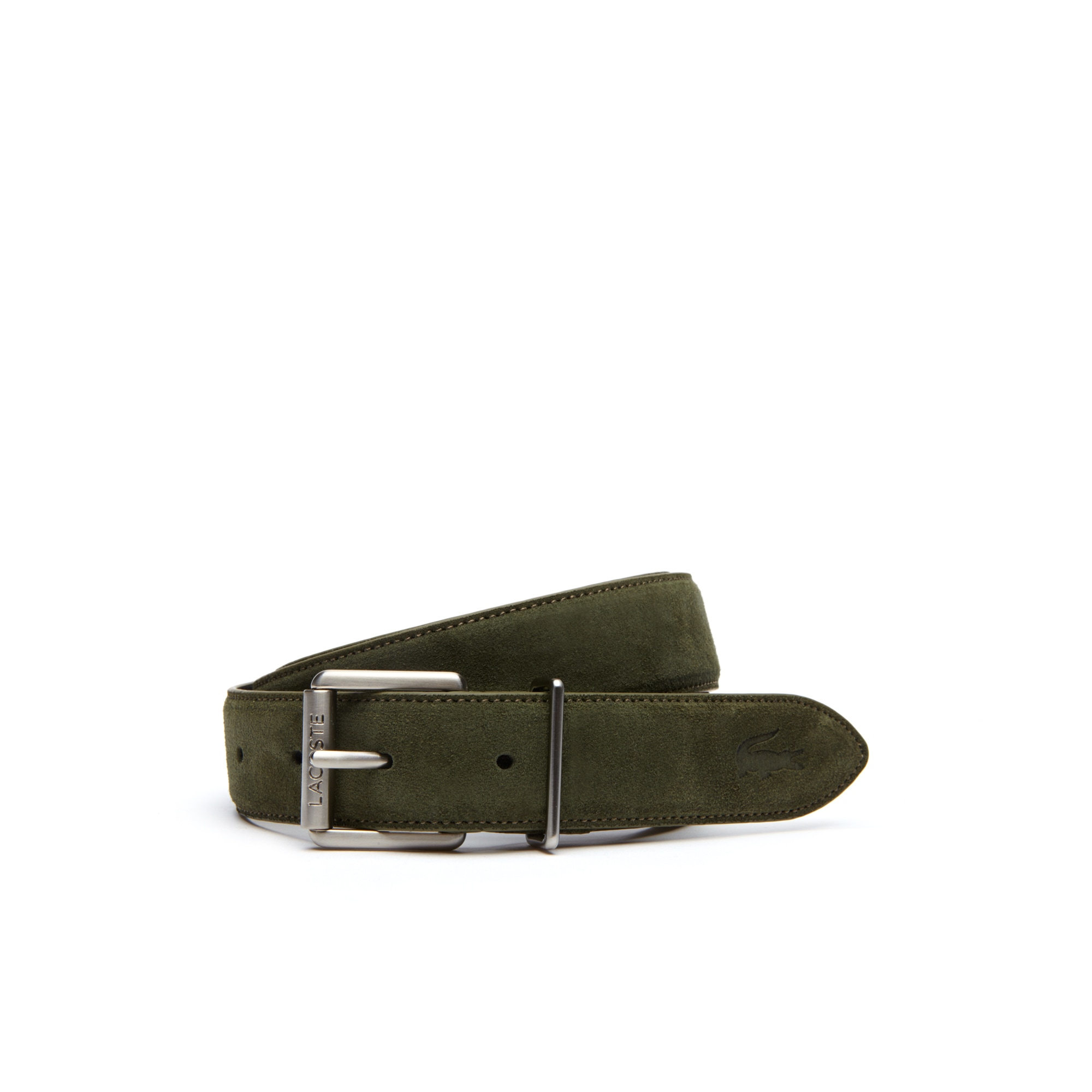 라코스테 벨트 Lacoste Mens Tongue Buckle Suede-Style Leather Belt,khaki