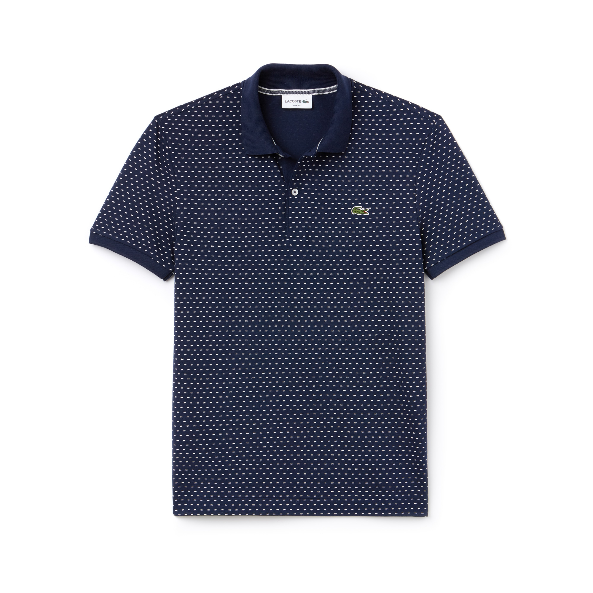 Men's Slim Fit Print Mini Piqué Polo
