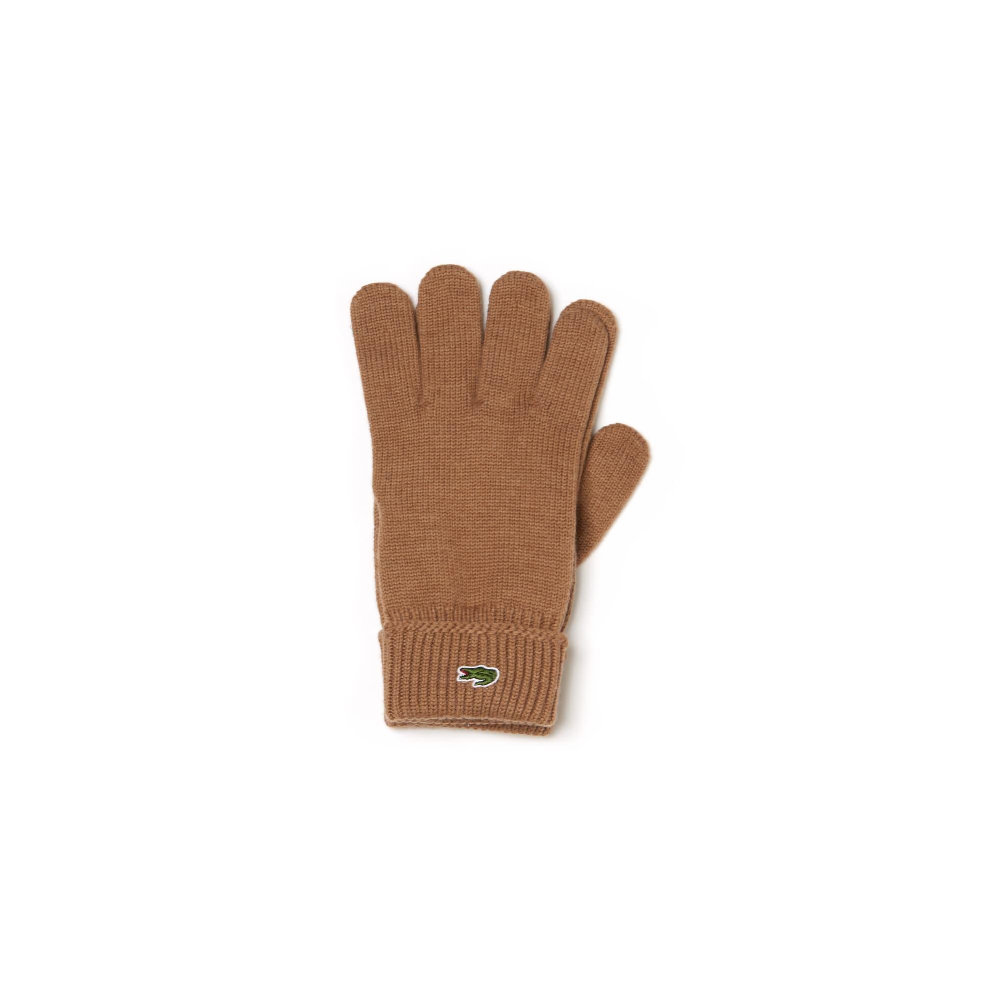 라코스테 Lacoste Mens Ribbed Wool Gloves,brown