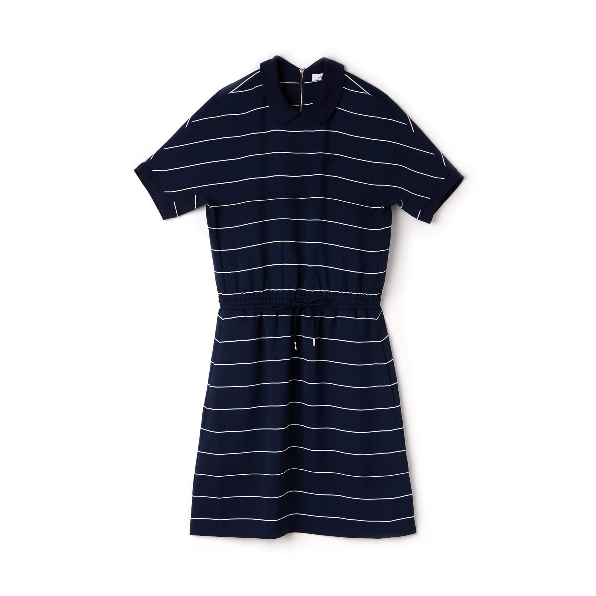 Women's Elasticized Waistband Knit Polo Dress