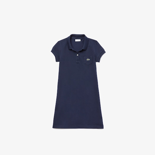 라코스테 걸즈 피케 폴로 원피스 Lacoste Girls' Cotton Petit Pique Polo Dress,Navy Blue
