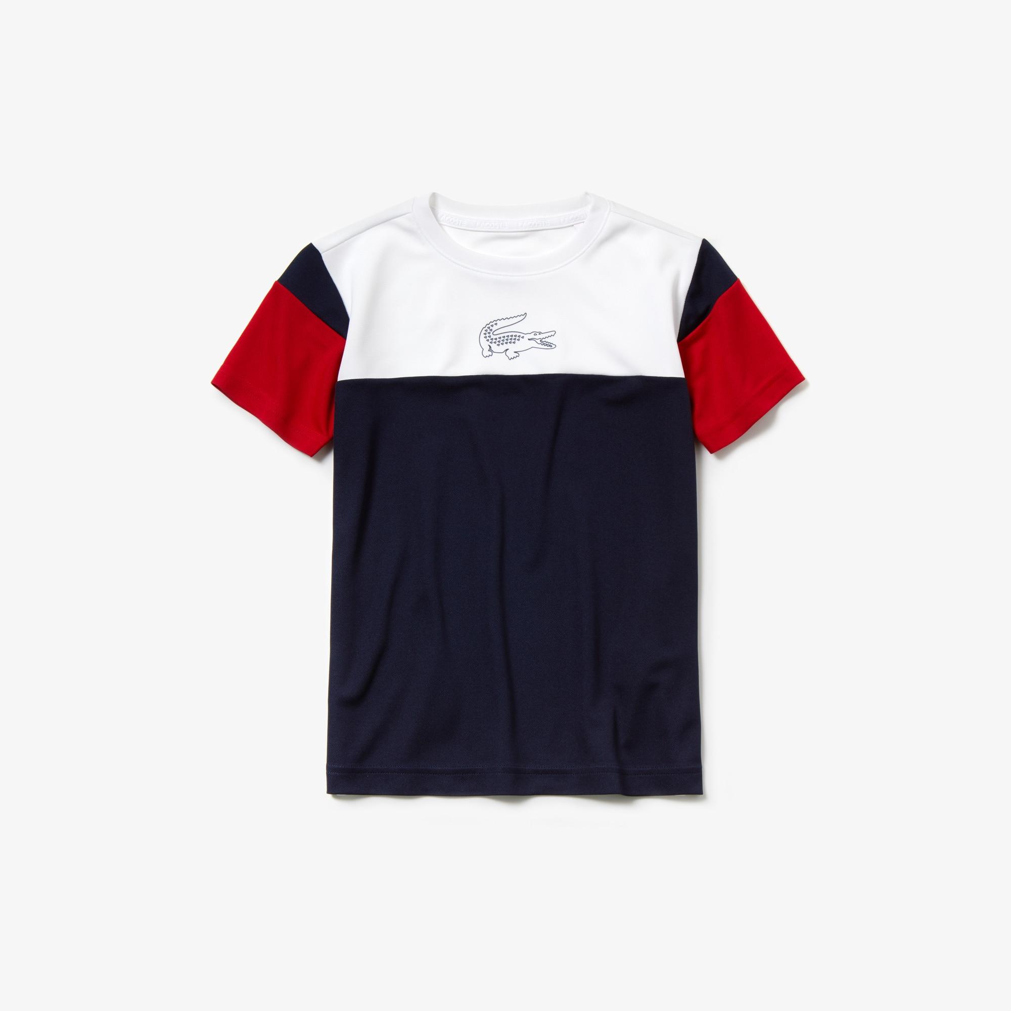 라코스테 Lacoste Boys SPORT Crew Neck Tennis T-shirt,White / Navy Blue / Red • A10