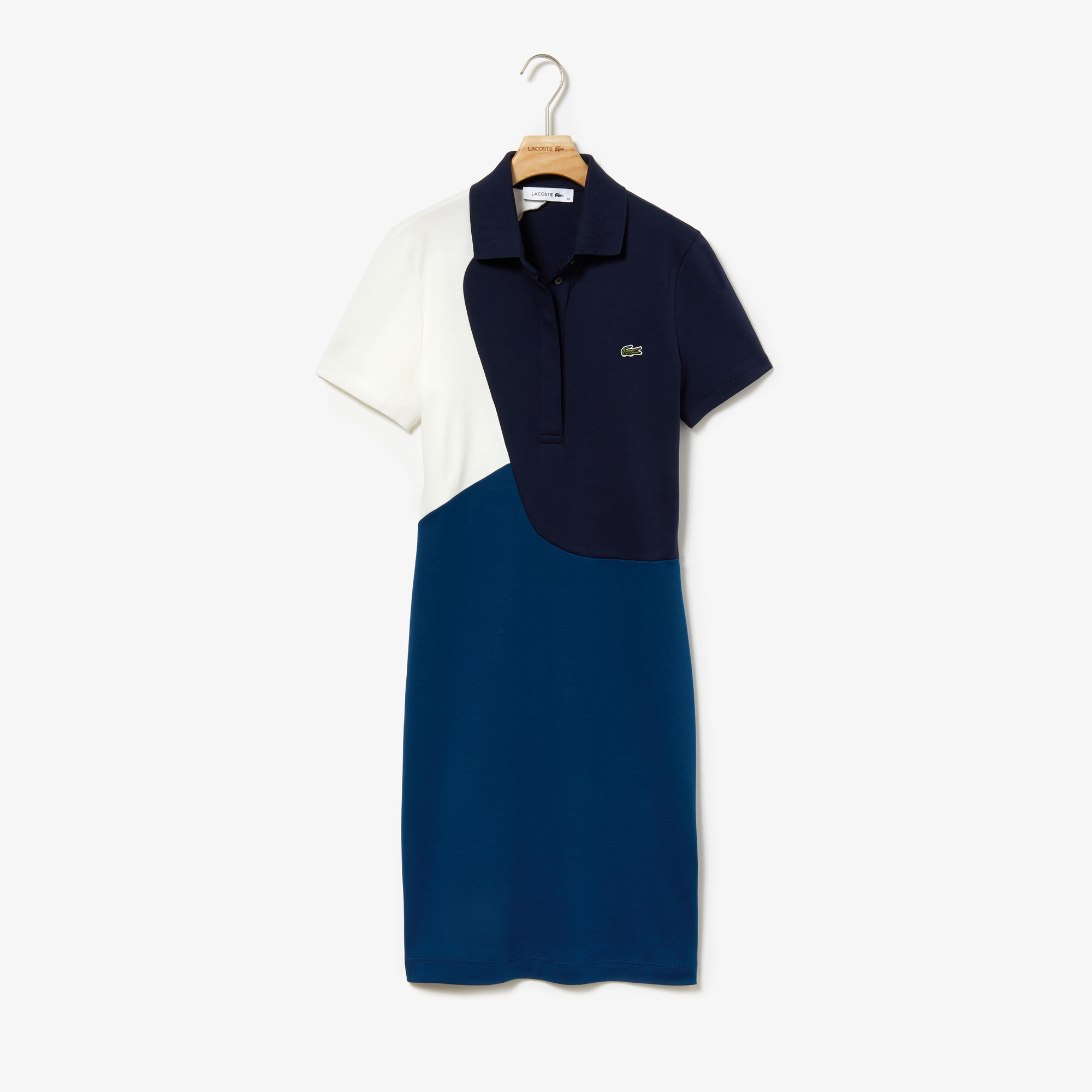 Women's Fitted Color-Block Cotton Polo Dress