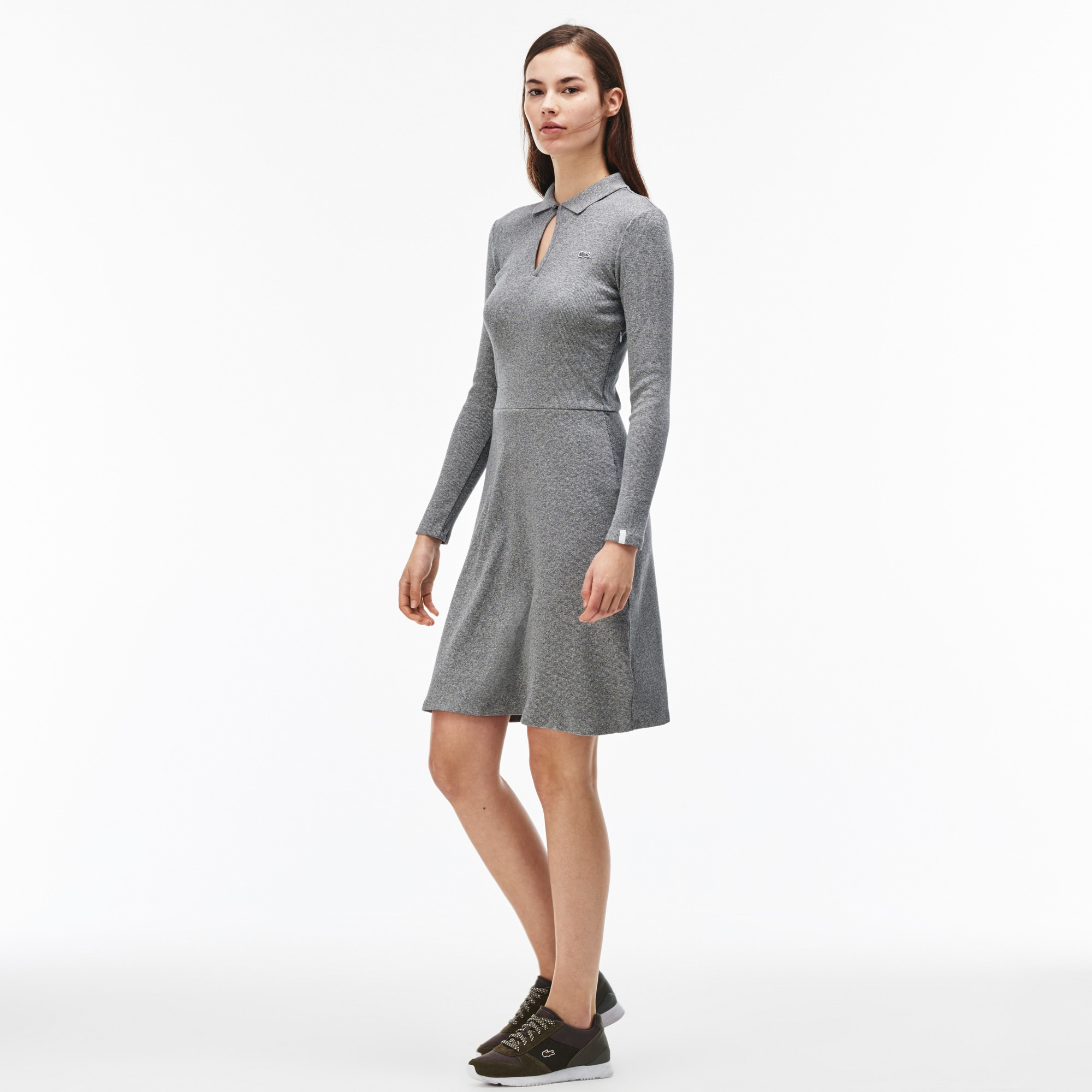 Women's Lacoste LIVE V-Neck Stretch Ribbed Cotton Dress