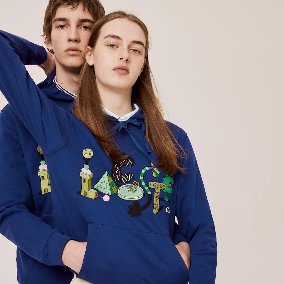 Unisex Lacoste x Jeremyville Print Hooded Sweatshirt