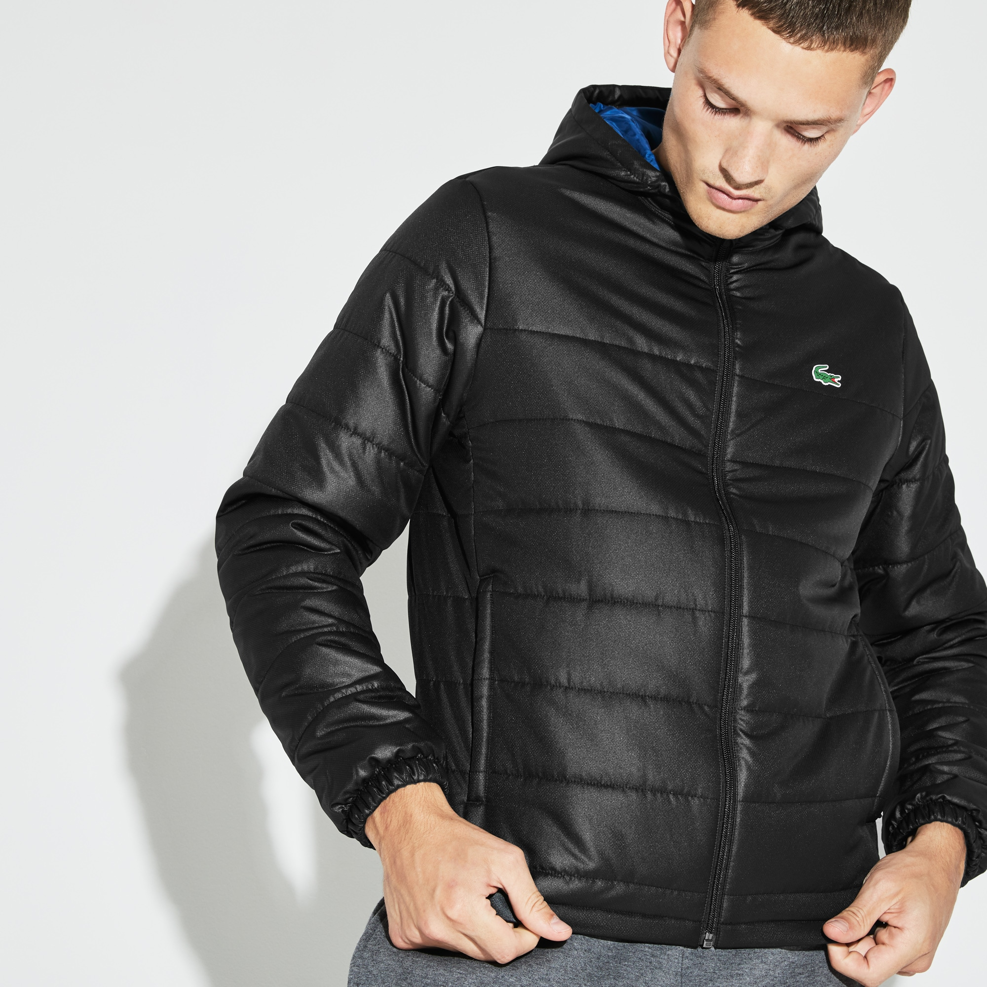Men's SPORT Hooded Water-Resistant Taffeta Tennis Jacket