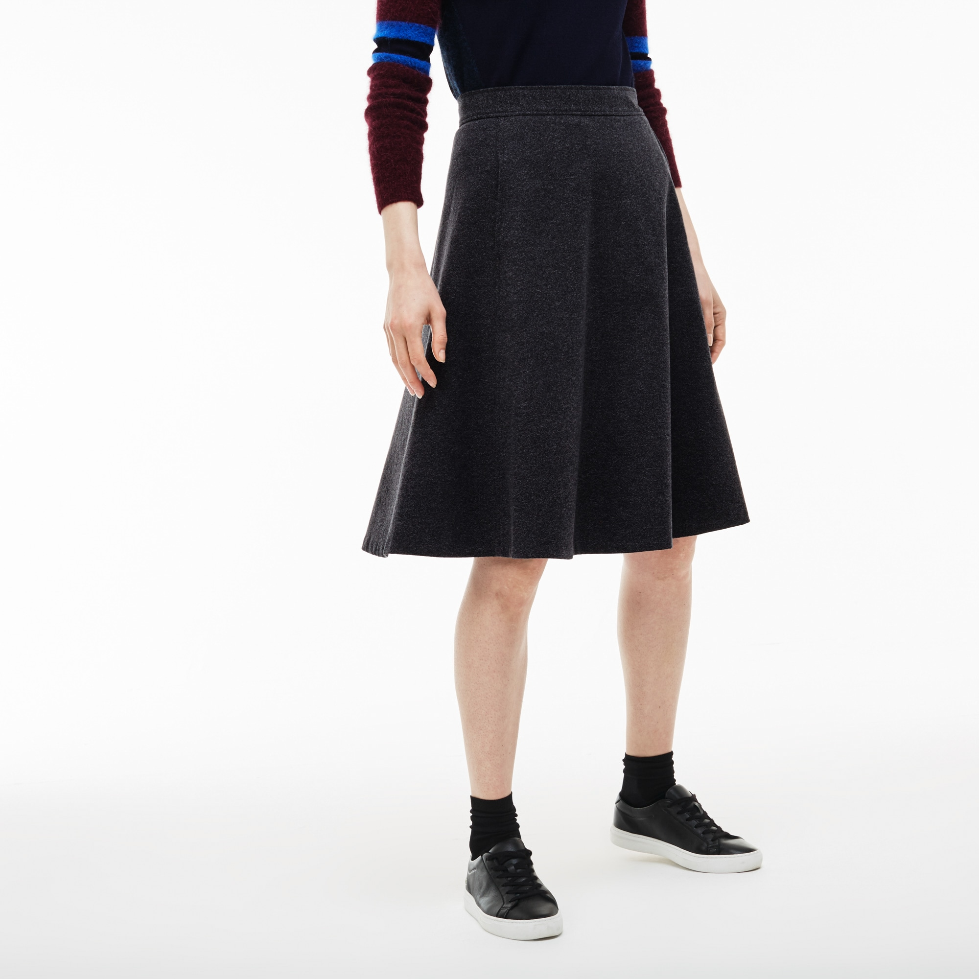 Women's Stretch Wool And Cotton Tweed A-line Skirt