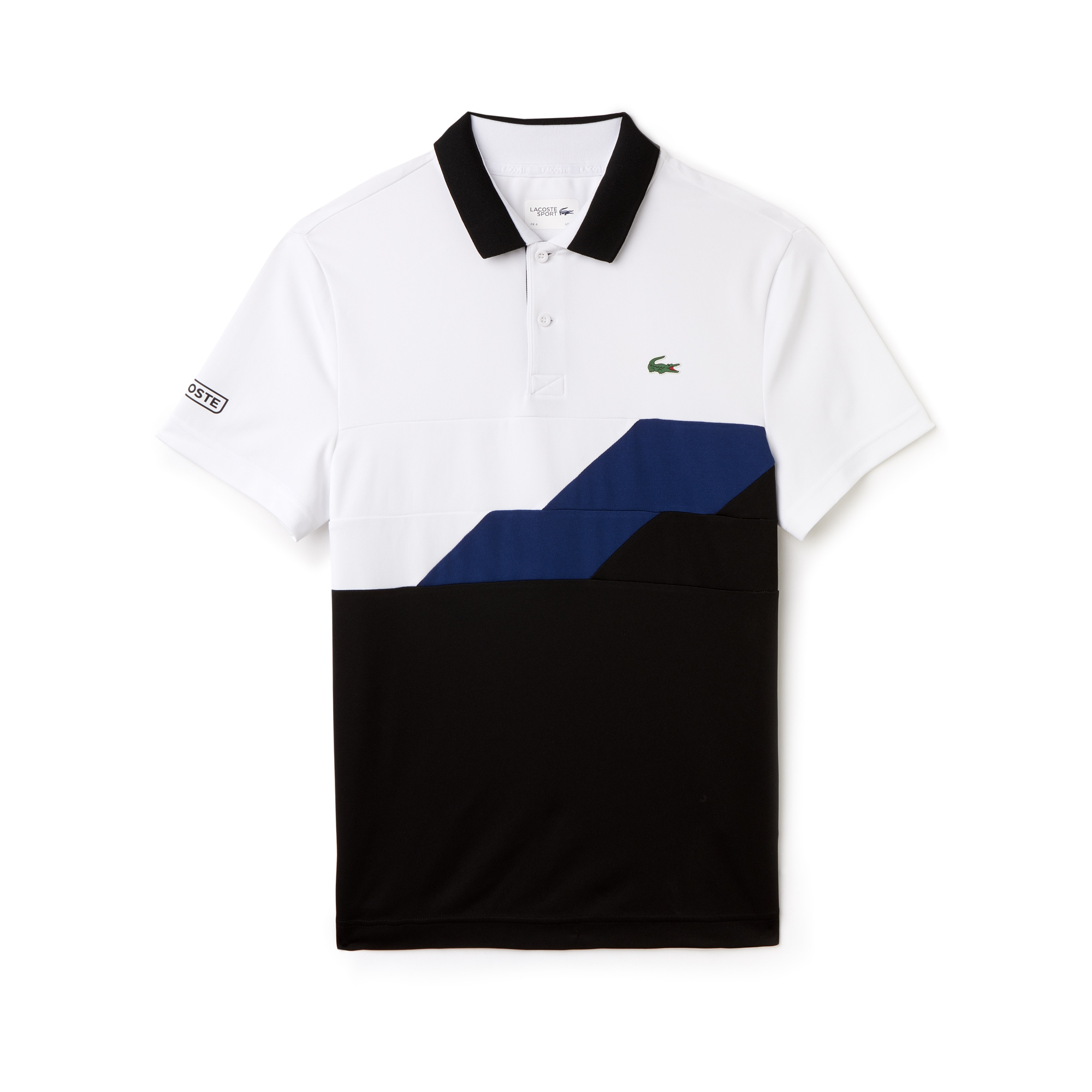 라코스테 Lacoste Mens SPORT Colorblock Bands Technical Pique Tennis Polo,white/black-inkwell