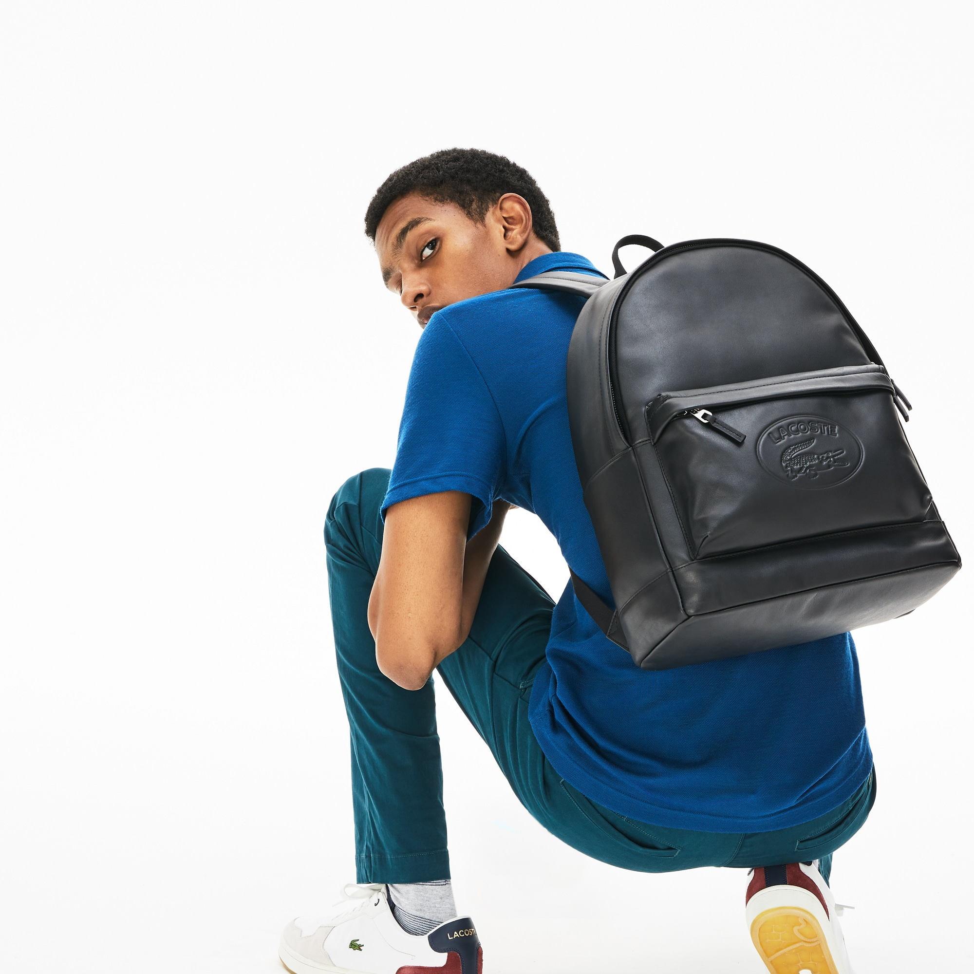 Lacoste Mens L.12.12 Casual Embossed Lettering Leather Backpack