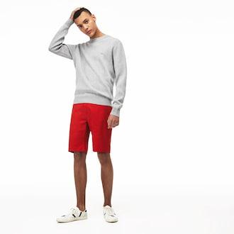 라코스테 Lacoste Mens Slim Fit Stretch Gabardine Shorts,Red - ADX