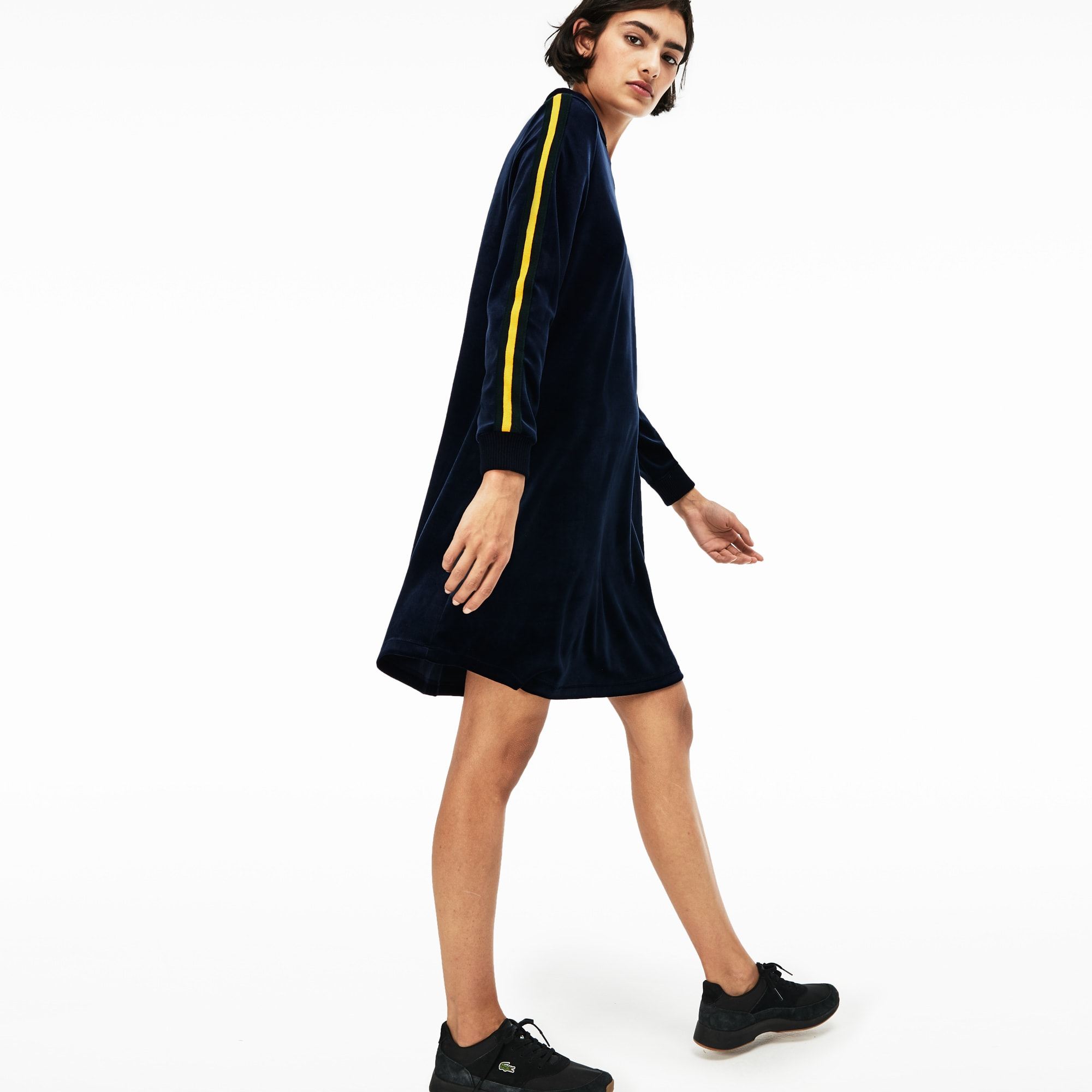 Women S Live Piped Velour Flared Polo Dress