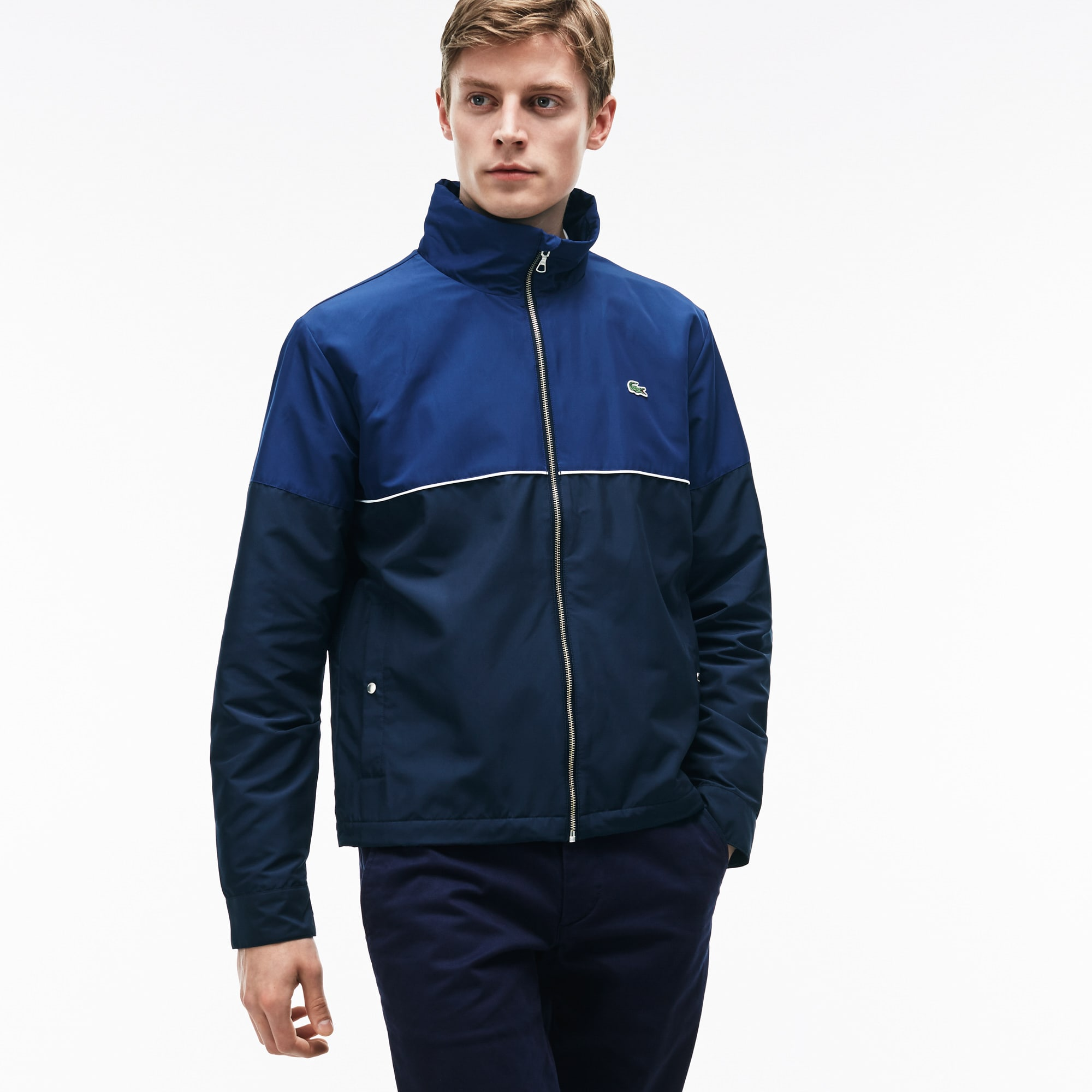 Men's Hooded Zippered Jacket in Unicolor Nylon and Contrasting Accents
