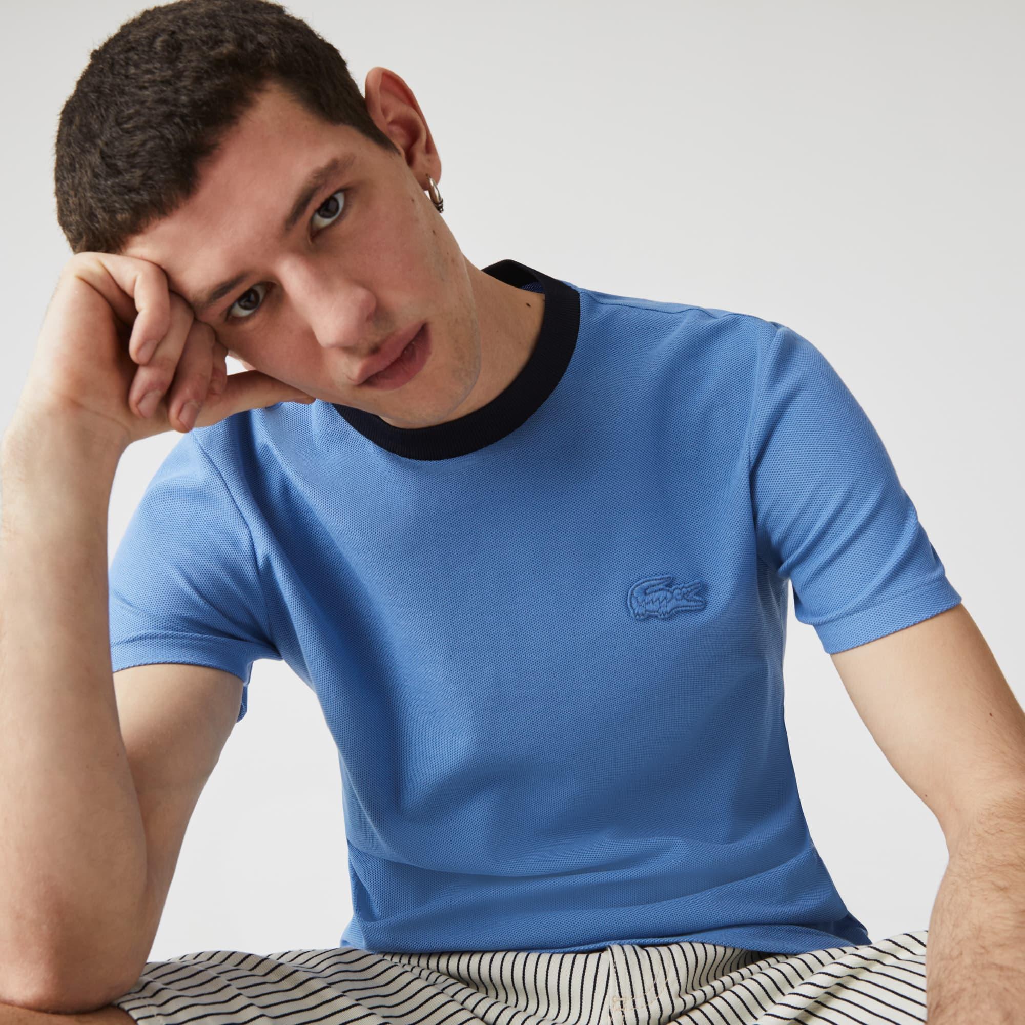 라코스테 Lacoste Men's Crewneck Relaxed Fit Textured Cotton T-shirt,Blue / Navy Blue Z2R