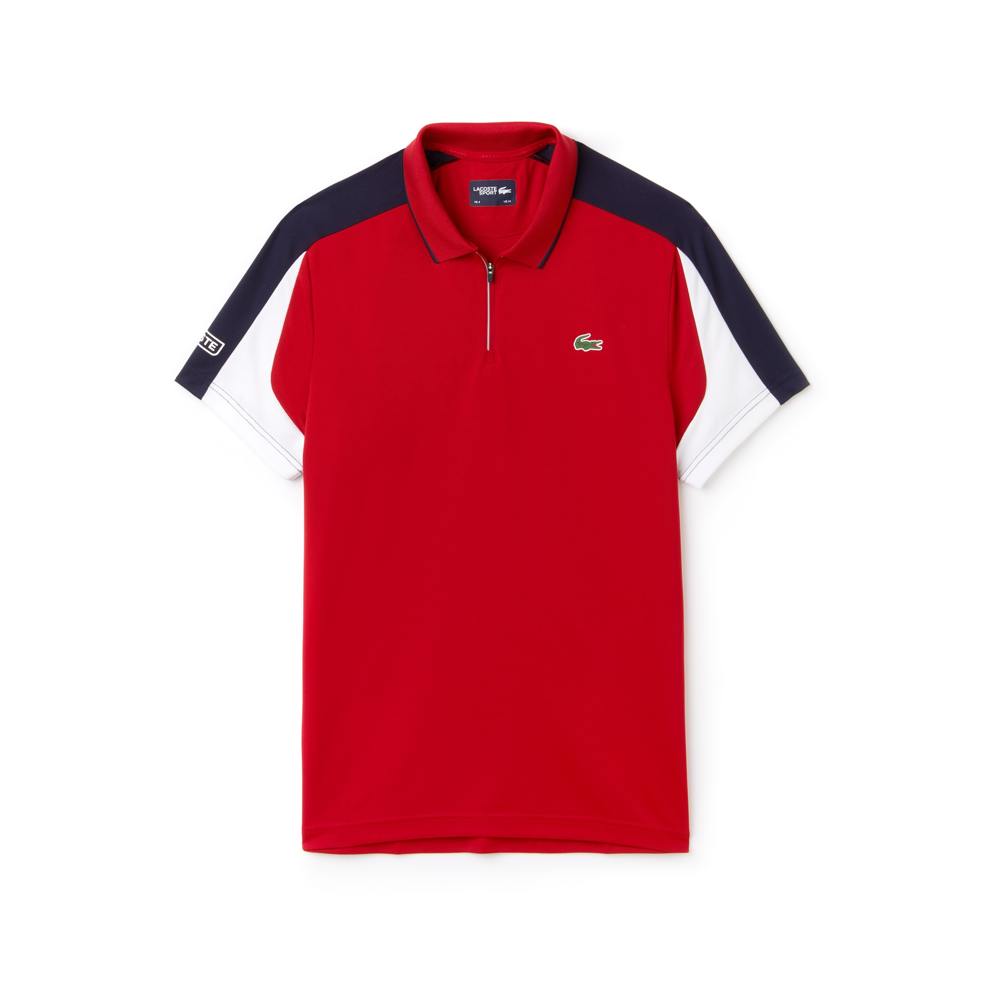 라코스테 Lacoste Mens SPORT Zip Neck Contrast Bands Pique Tennis Polo,lighthouse red/navy blue-