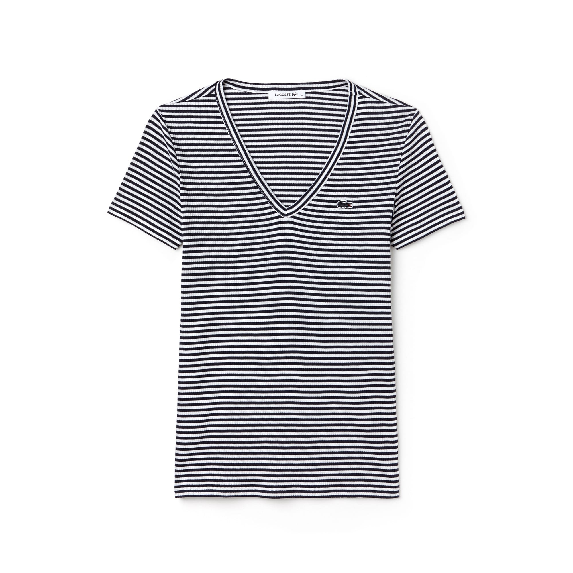 Women's Soft Striped Jersey V-Neck T-Shirt
