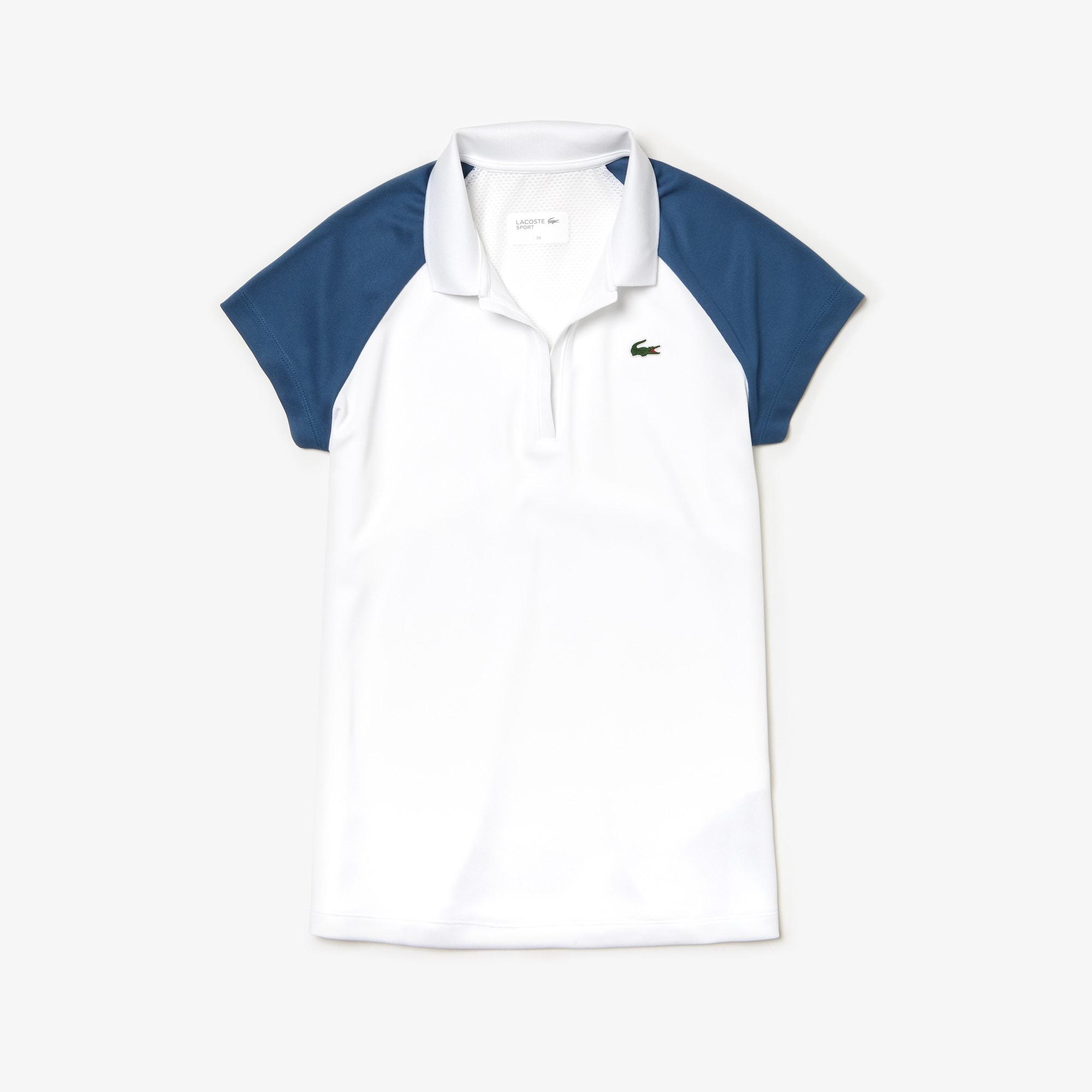 라코스테 테니스 피케 반팔 티셔츠 Lacoste Womens SPORT Tech Pique Tennis Polo,white / blue