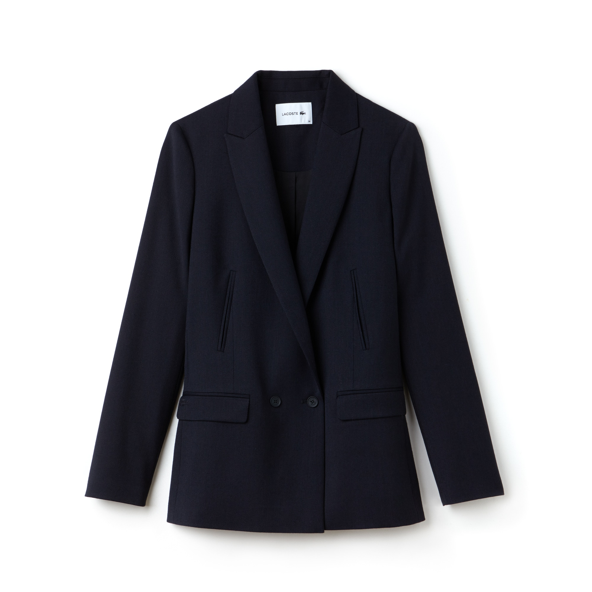 Women's Straight Cut Buttoned Wool Piqué Jacket