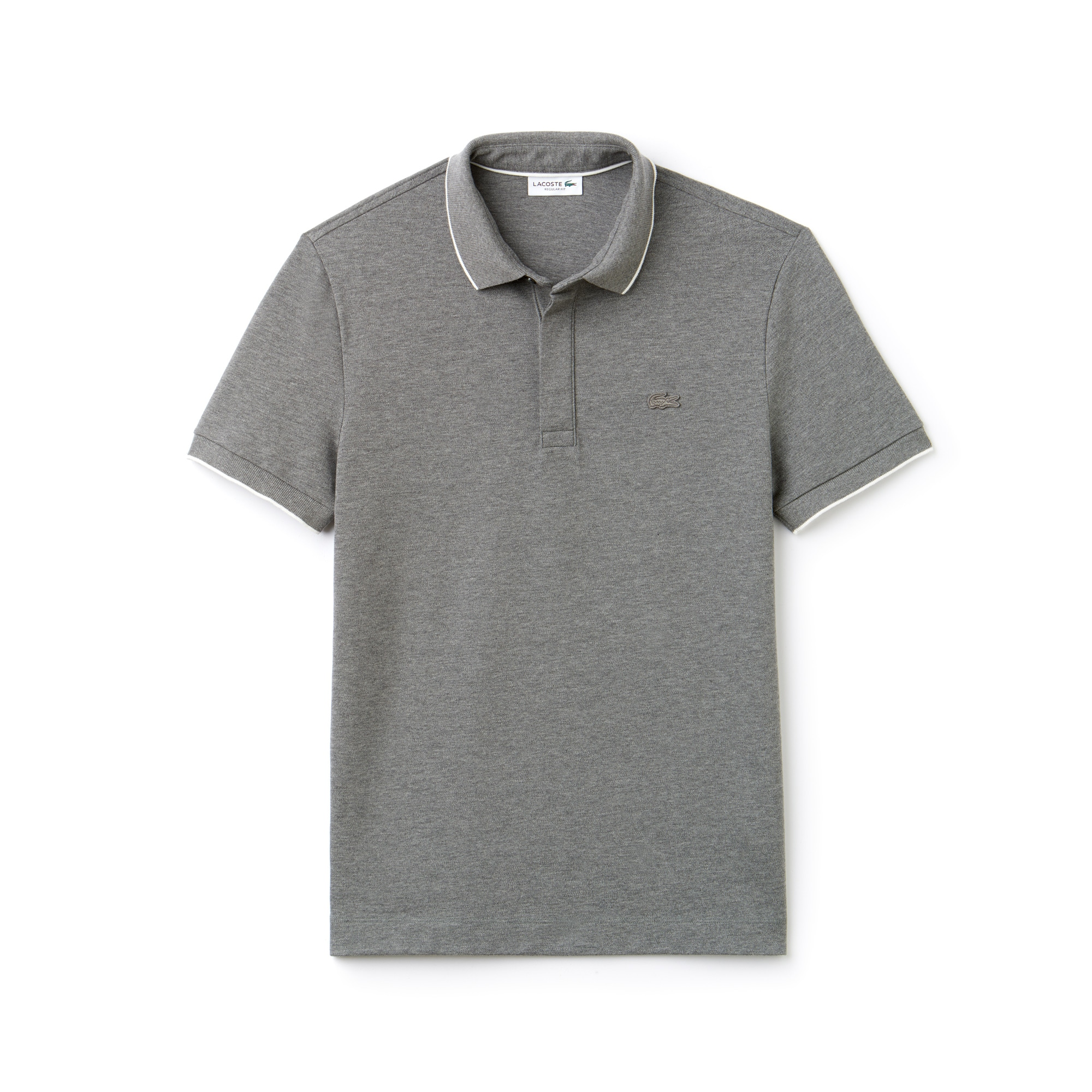 라코스테 Lacoste Mens Regular Fit Piped Stretch Pique Polo,stone chine/flour