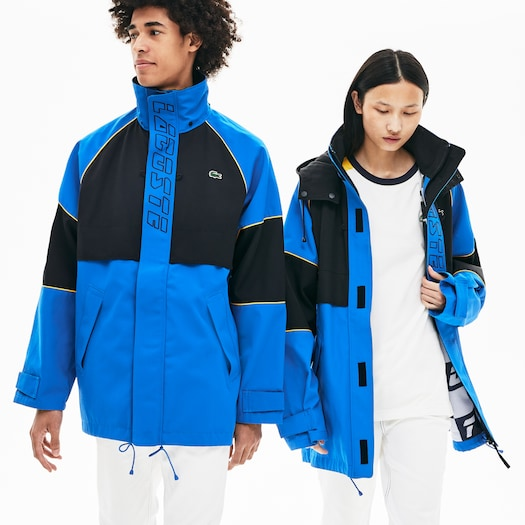 라코스테 Lacoste Unisex LIVE Canvas Technical Parka,Blue / Black / Yellow - 8EJ (Selected colour)