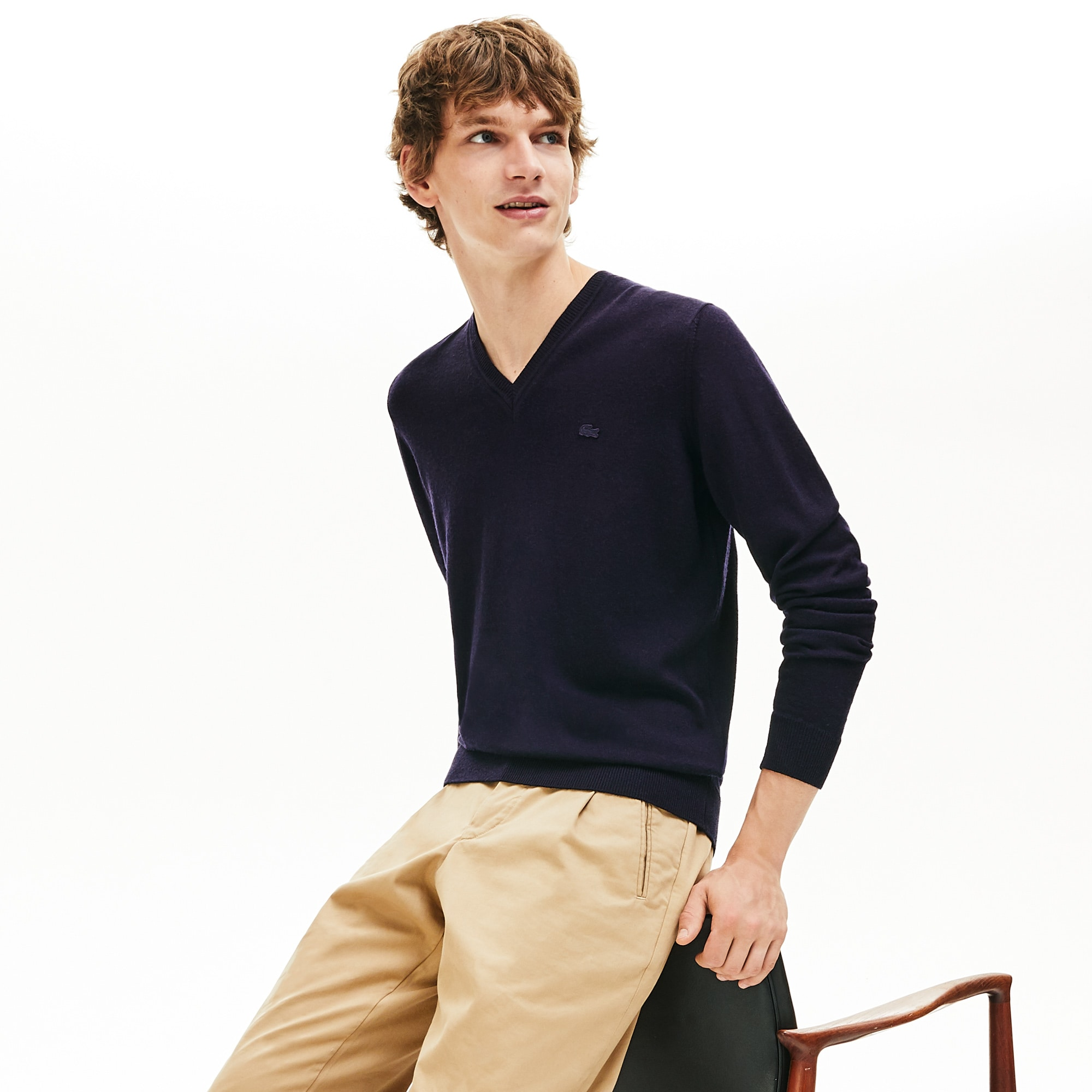 Men's V-neck Wool Jersey Sweater