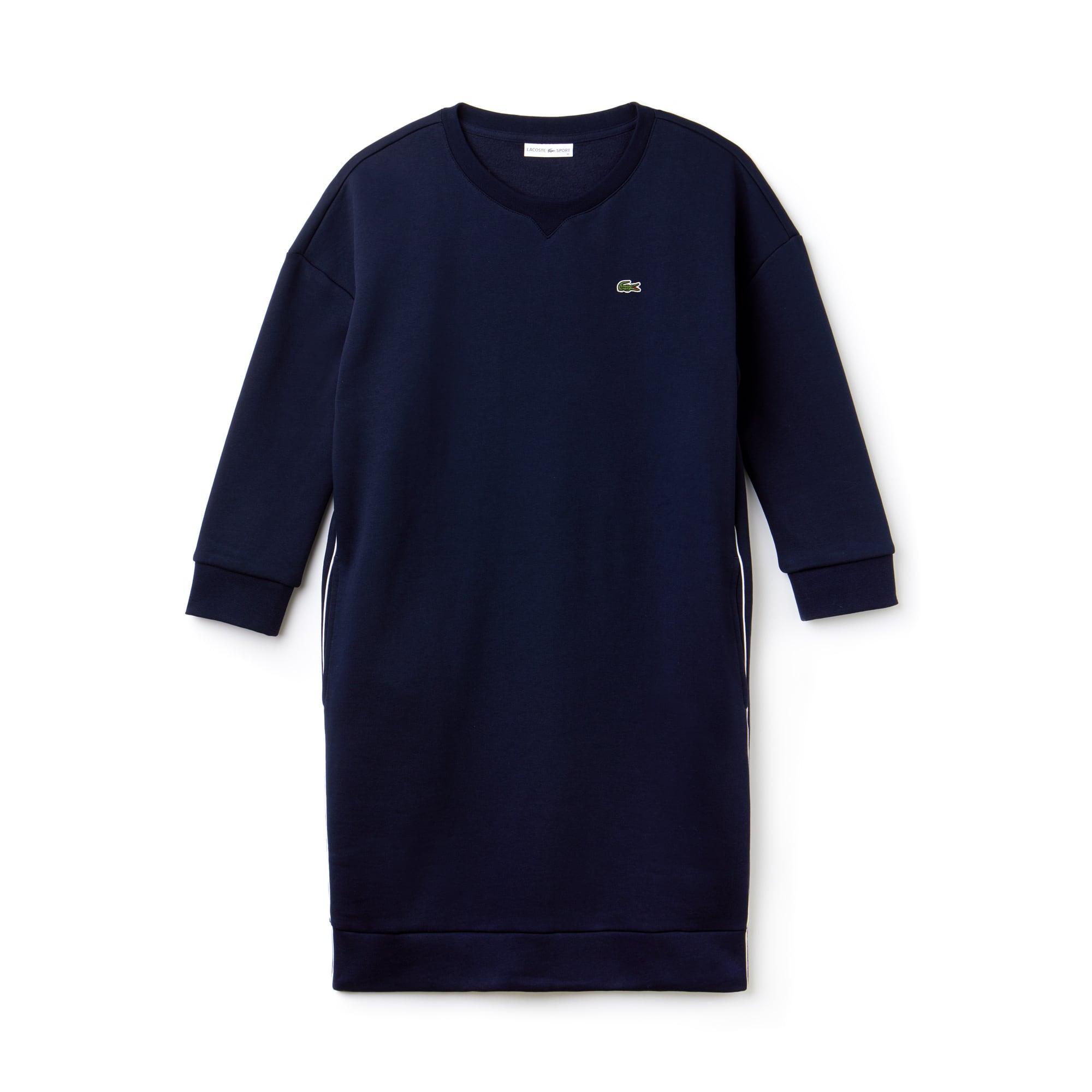 라코스테 Lacoste Womens SPORT Piped Fleece Tennis Sweatshirt Dress,navy blue/white-navy blue