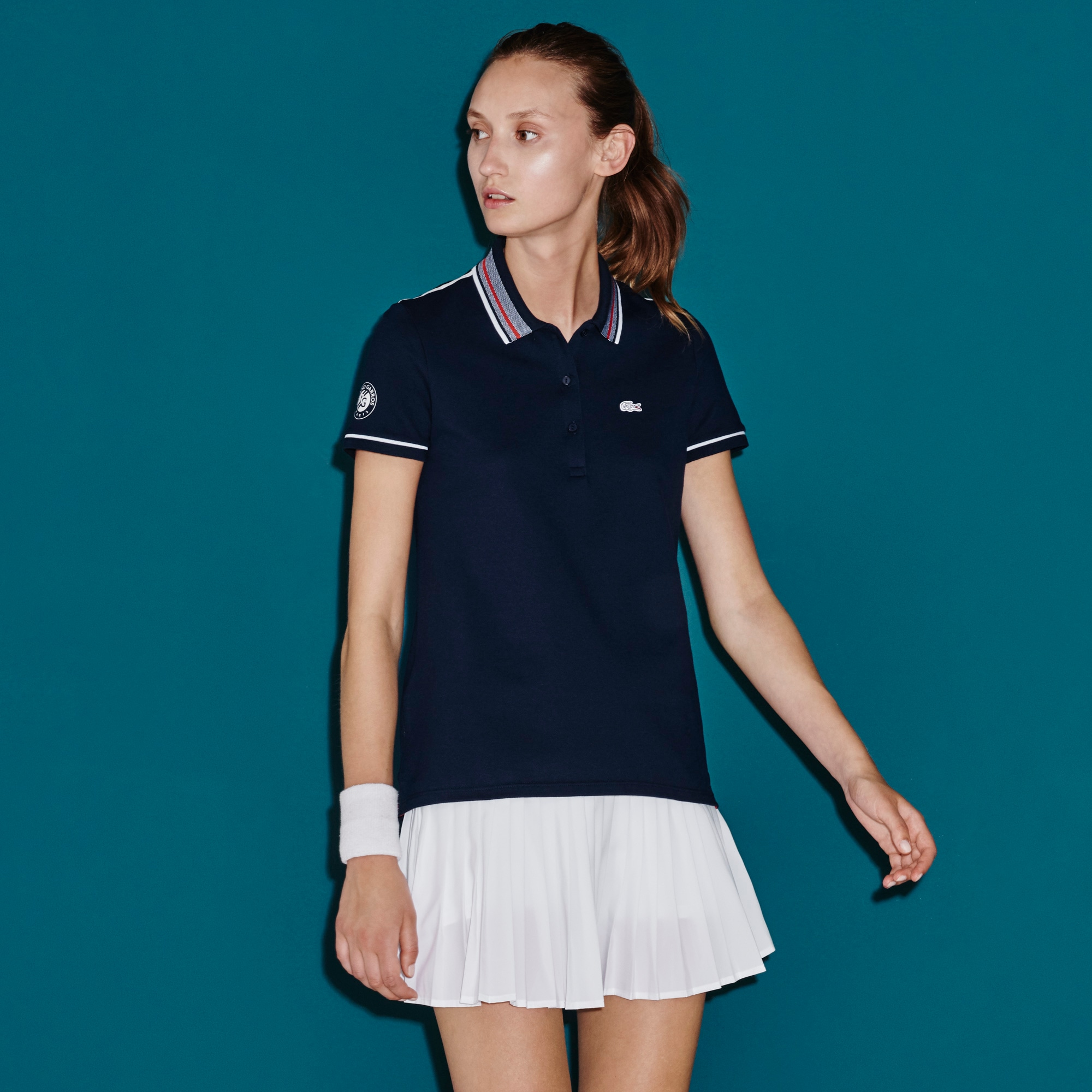 Women's SPORT French Open Striped Neck Polo Shirt