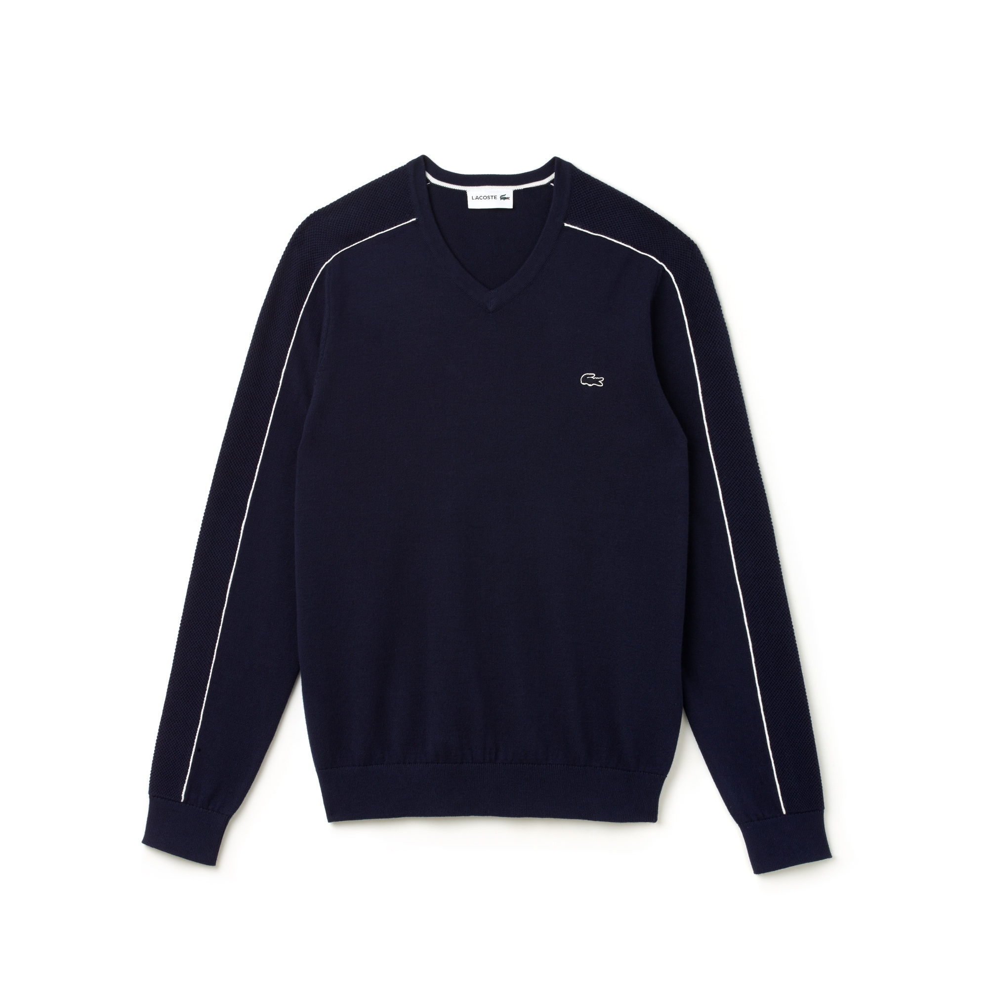 Men's V-neck Piped Jersey And Cotton Piqué Sweater