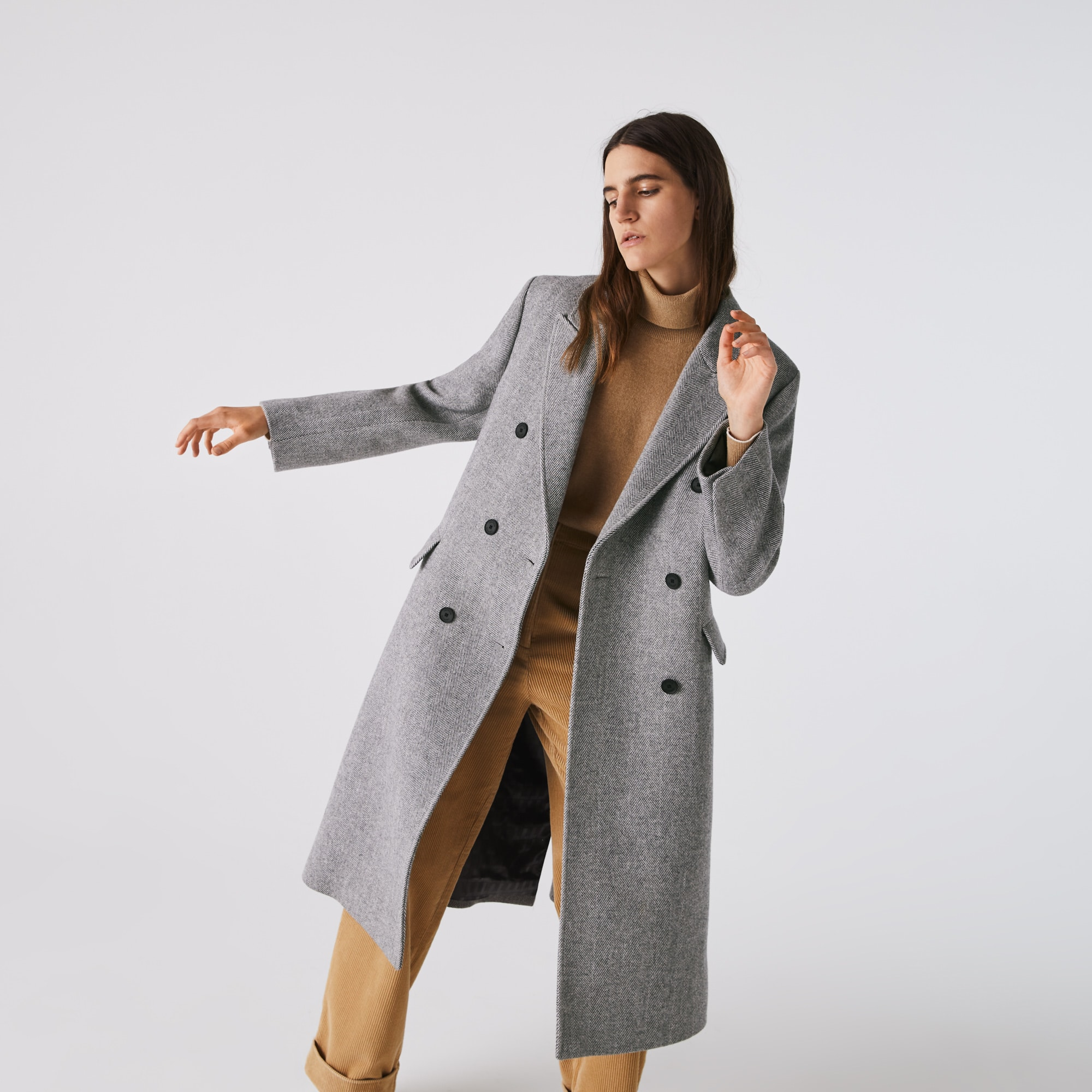 Lacoste Womens Double-Breasted Chevron Long Wool Blend Coat