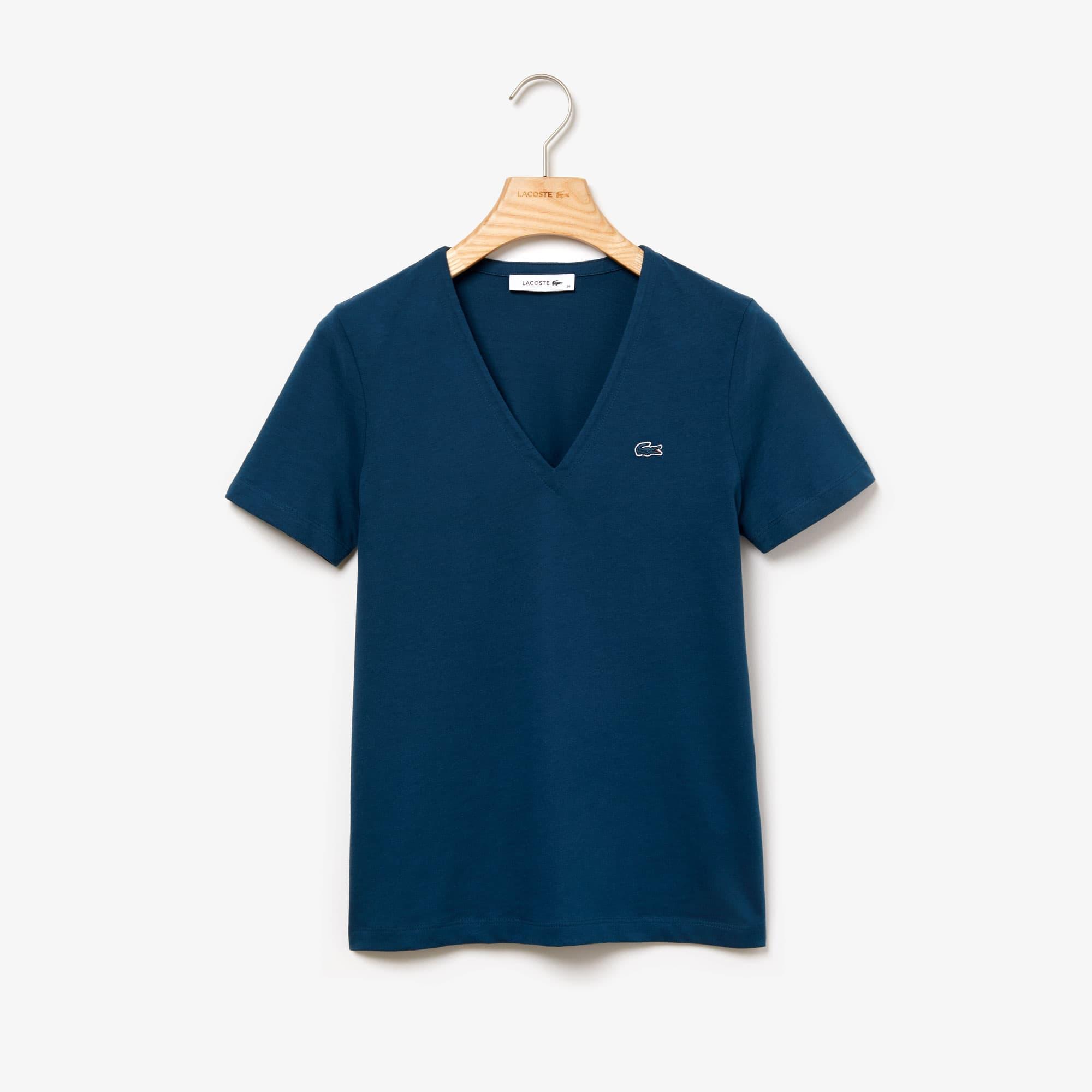 Lacoste Tops Women's Slim Fit V-Neck Cotton Jersey T-shirt