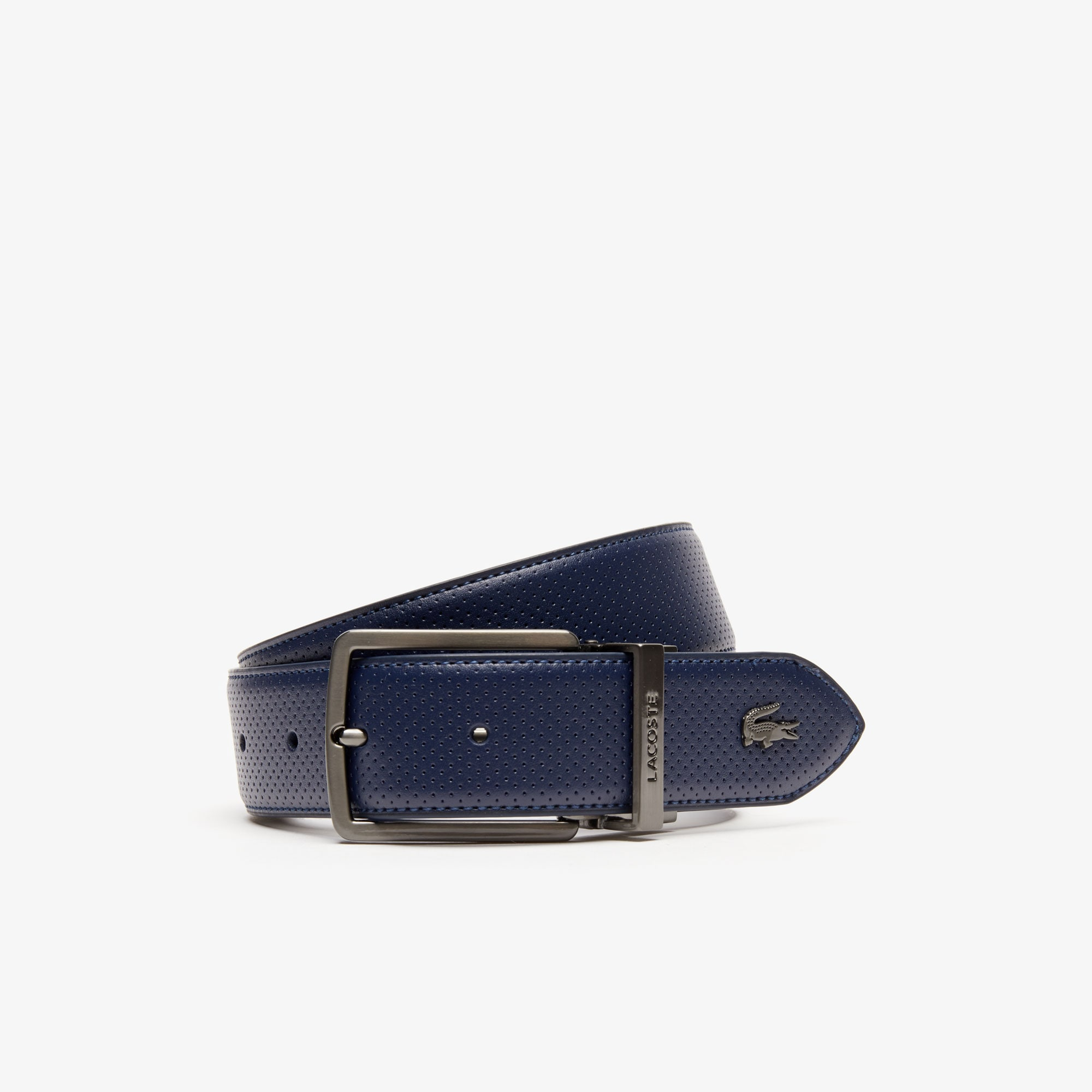 Men's Engraved-Buckle Reversible Piqué Leather Belt