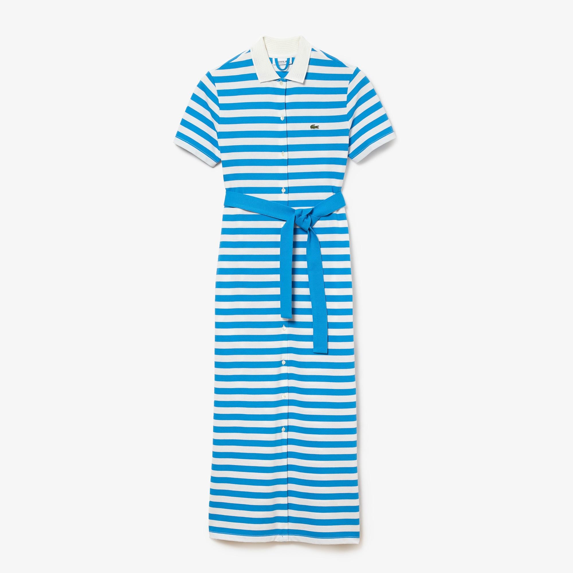 라코스테 스트라이프 롱 셔츠 원피스 Lacoste Women's Striped Cotton Pique Long Buttoned Dress,Blue / White EST