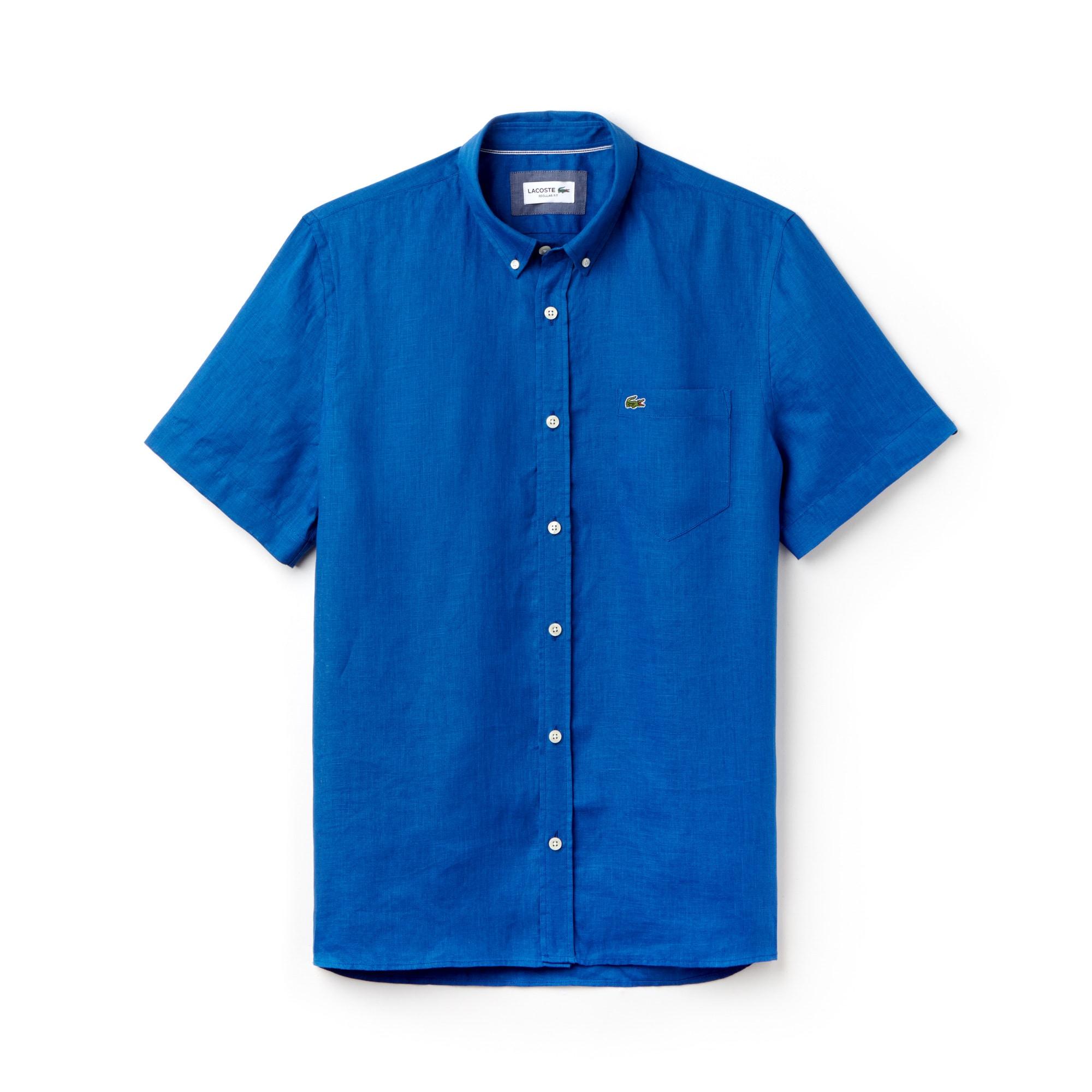 라코스테 반팔 셔츠 Lacoste Mens Regular Fit Linen Shirt,electric