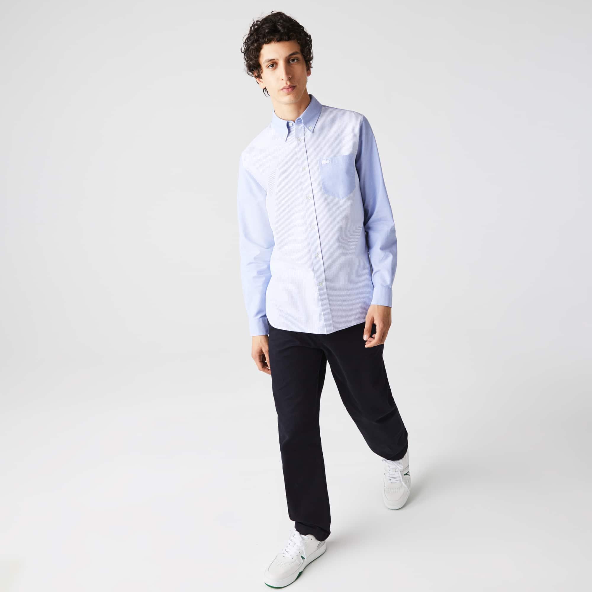 라코스테 맨 헤리티지 패치워크 옥스포드 셔츠 Lacoste Men's Heritage Regular Fit Patchwork Striped Oxford Cotton Shirt,White / Blue F6Z