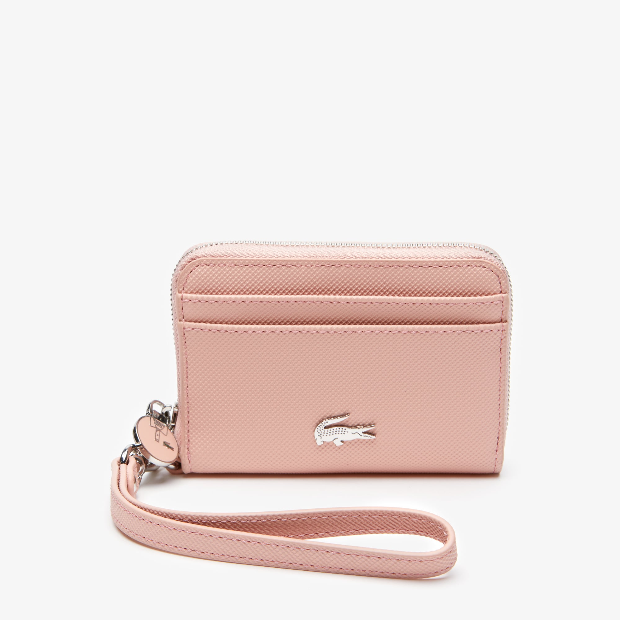 라코스테 Lacoste Womens Daily Classic Small Coated Pique Canvas Zip Wallet,mellow rose