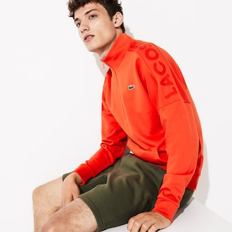 라코스테 스포츠 트레이닝복 상의 Lacoste Mens SPORT Zip Standup Neck Cotton Sweatshirt,Orange / Blue