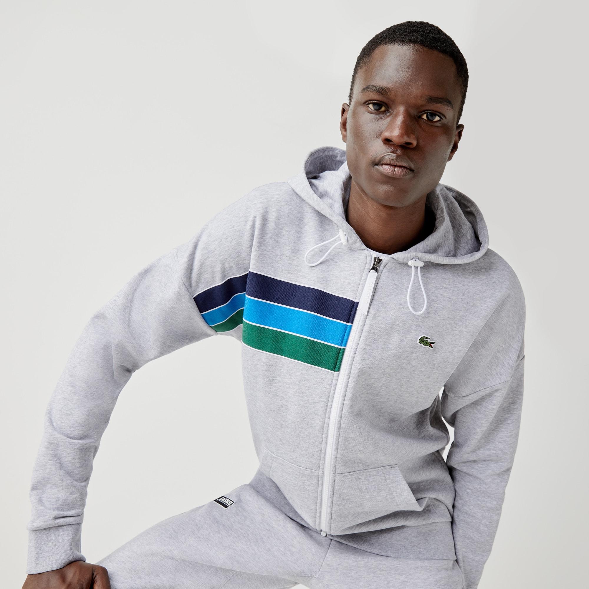 Lacoste Mens Sport Fleece Pull Over Hoodie Sweatshirt
