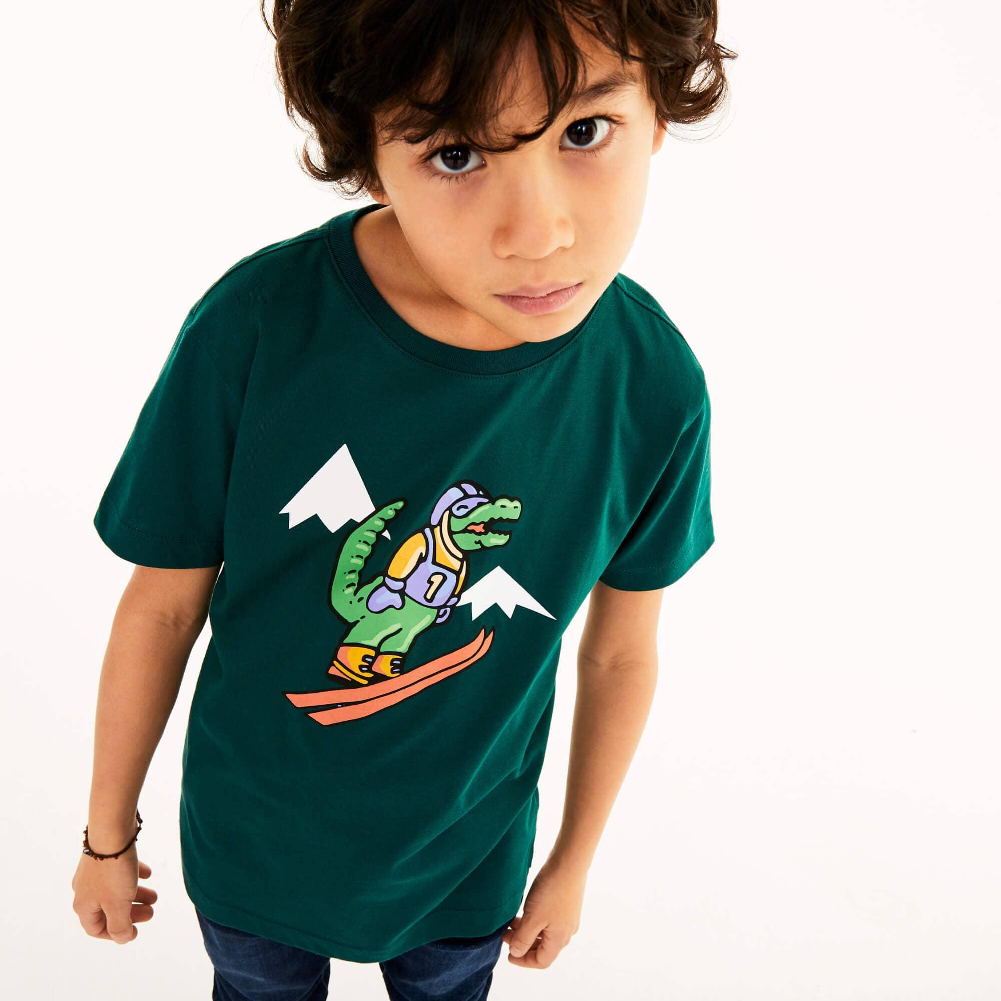 라코스테 Lacoste Boys Skiing Crocodile Print Cotton T-Shirt Gift Set,Green • GFS