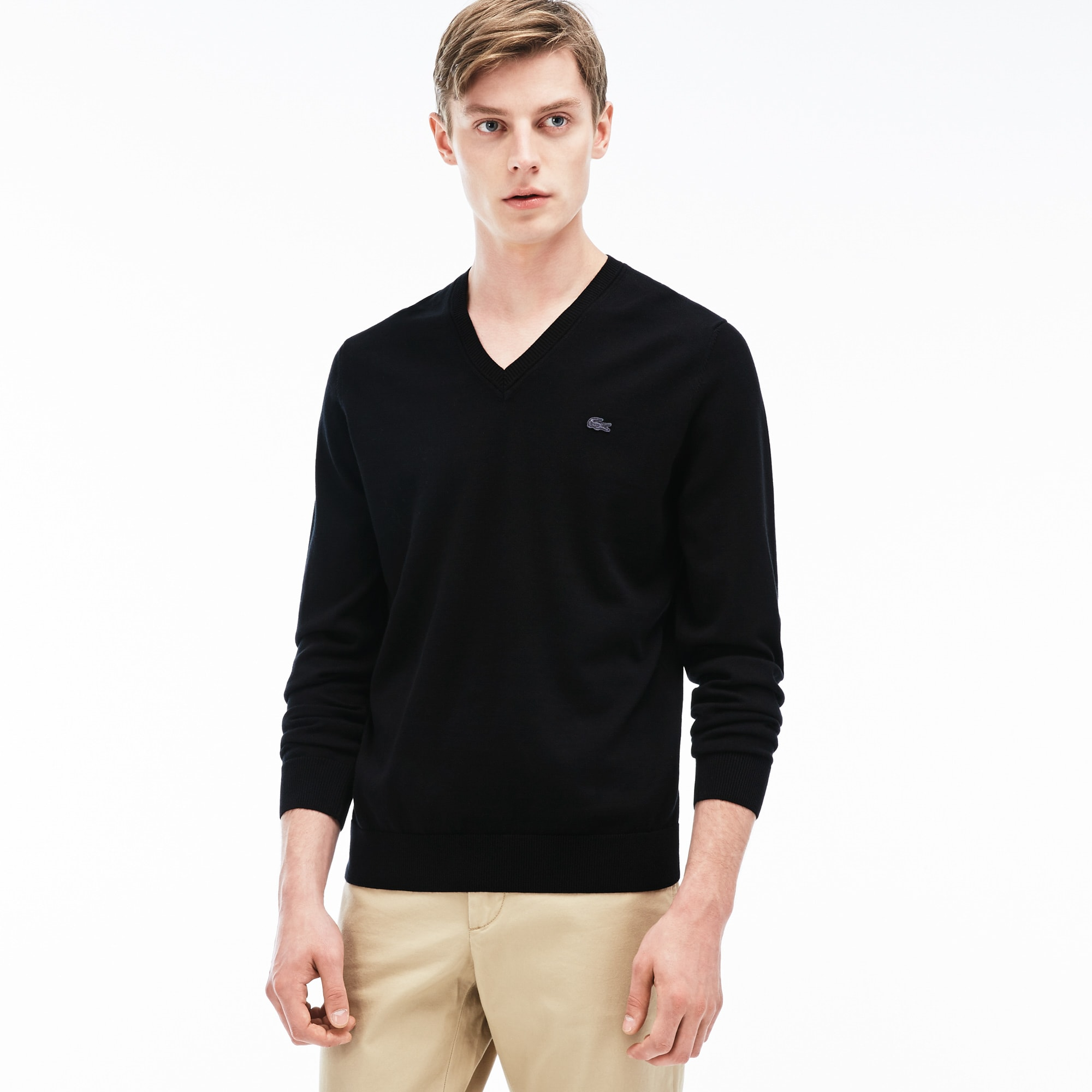 Men's Ribbed V-Neck Sweater | LACOSTE