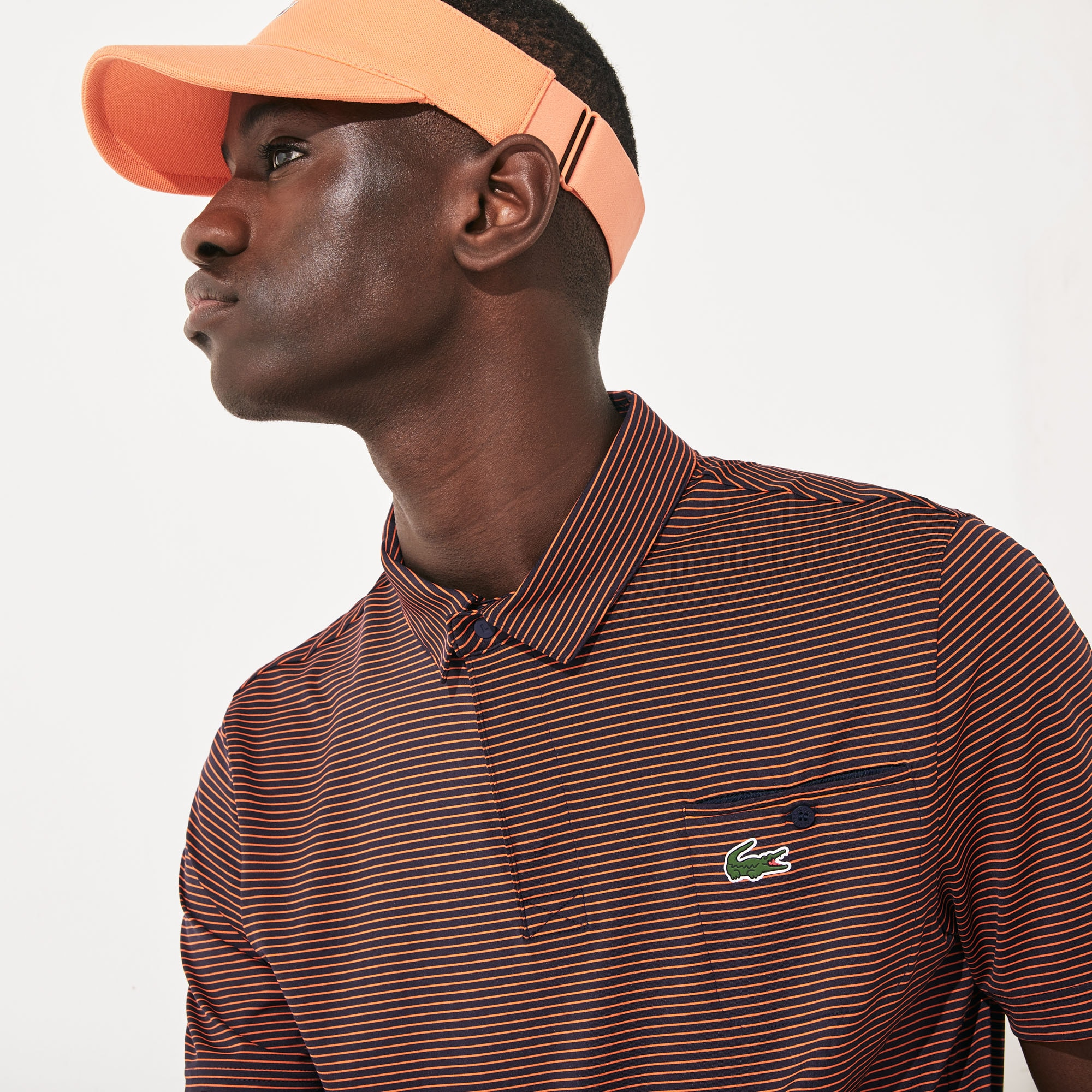 라코스테 Lacoste Mens SPORT Breathable Striped Golf Polo Shirt,Navy Blue / Red - XVF