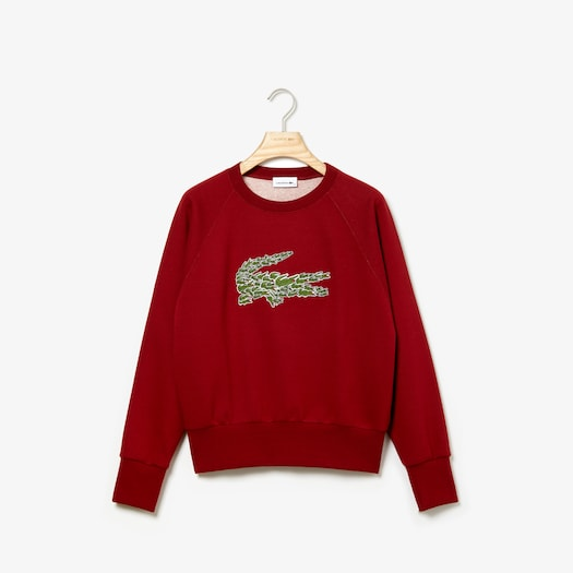 라코스테 우먼 로고 플리스 스웻셔츠 - 핑크 Lacoste Womens Crewneck Multi Croc Logo Fleece Sweatshirt, SF8687
