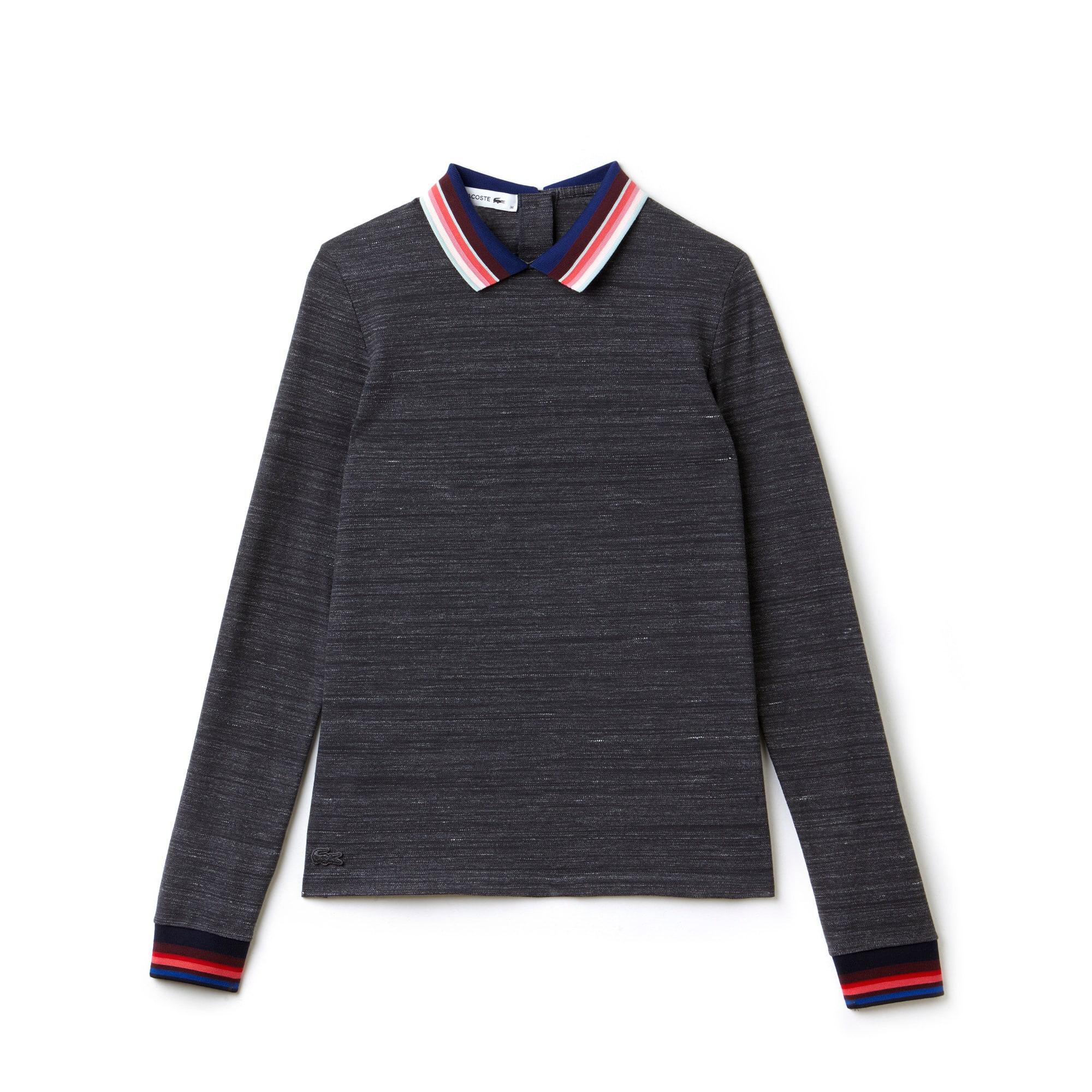 라코스테 긴팔 카라티 Lacoste Womens Slim Fit Polo With Striped Ribbing,PATTERNED GRAPHITE