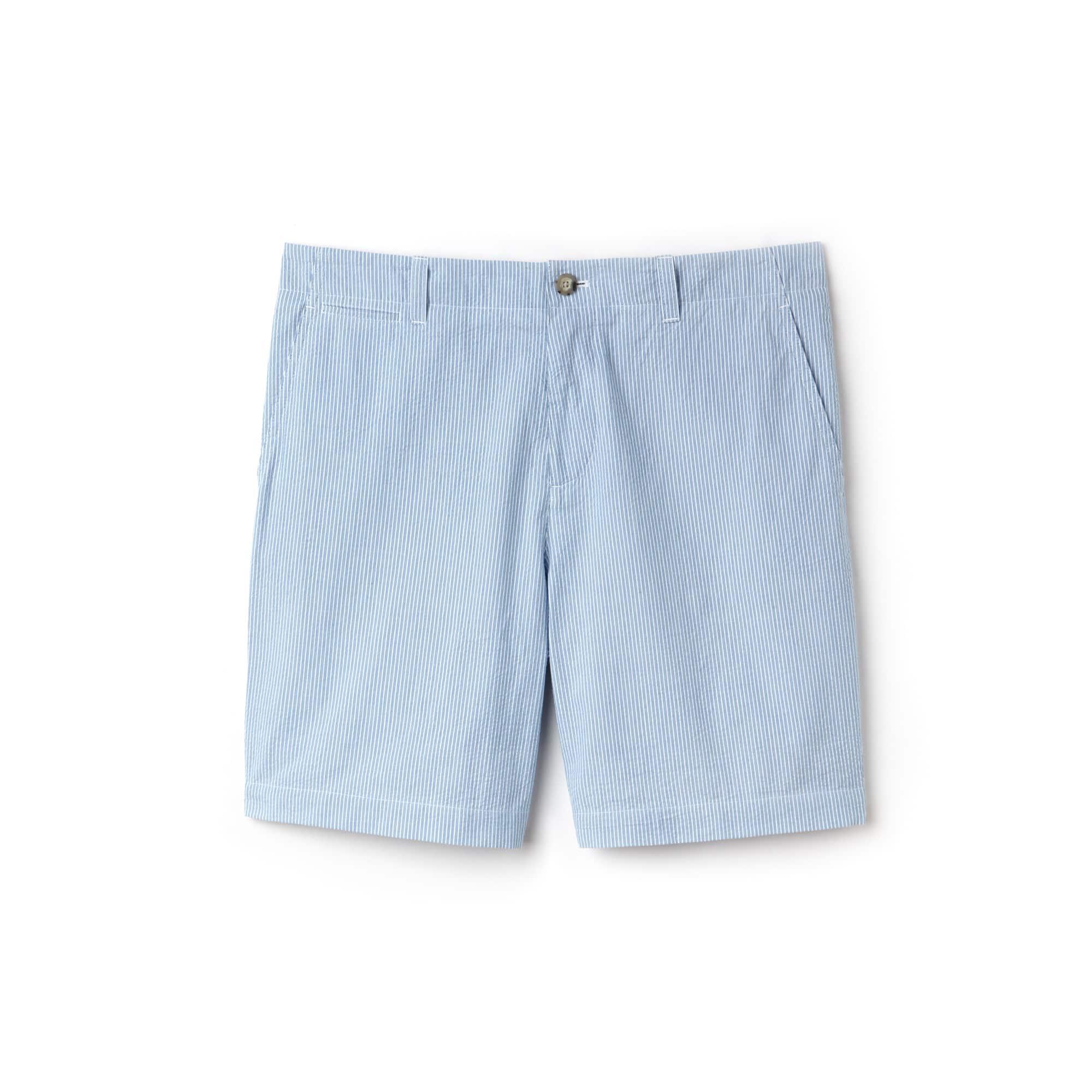 Men's Regular Fit Striped Cotton Seersucker Bermuda Shorts