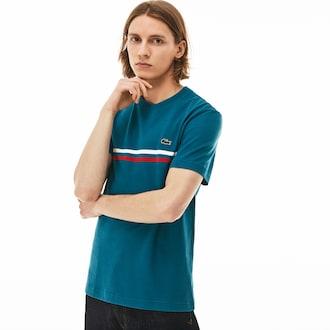 라코스테 Lacoste Mens Made In France Cotton T-shirt,Blue / Red / White