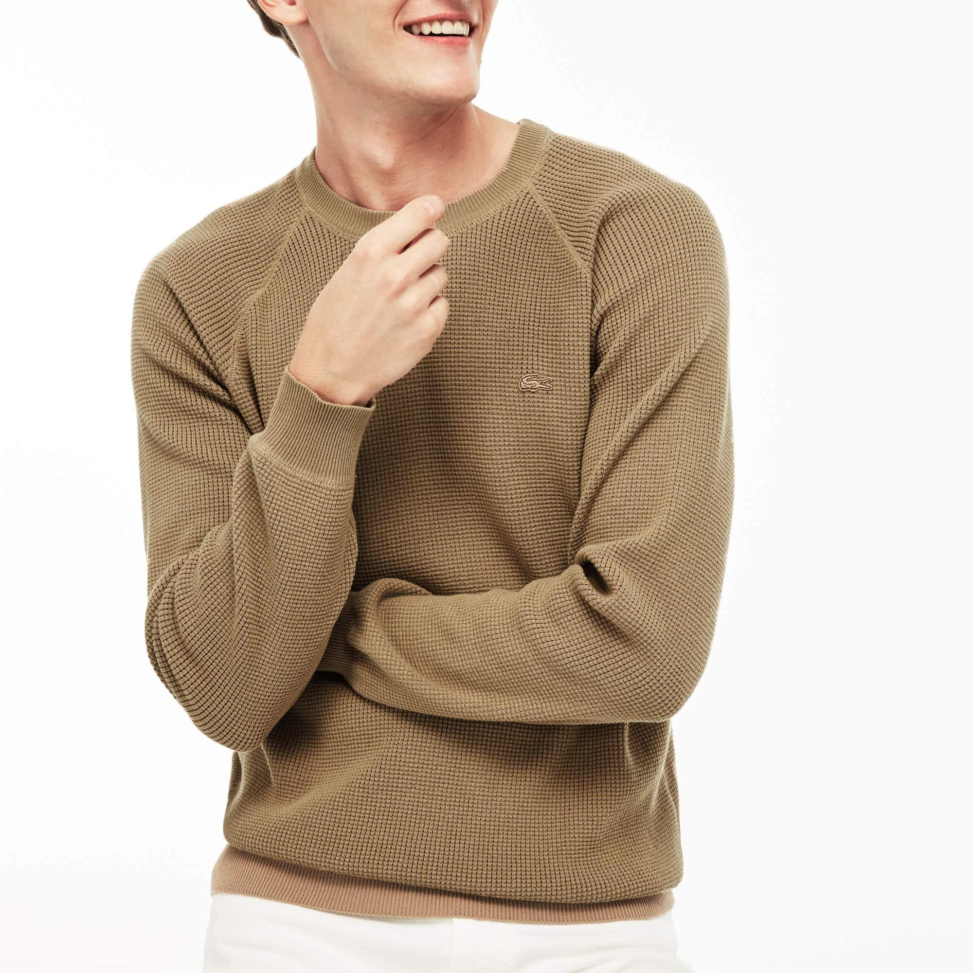 Men's Crew Neck Honeycomb Sweater