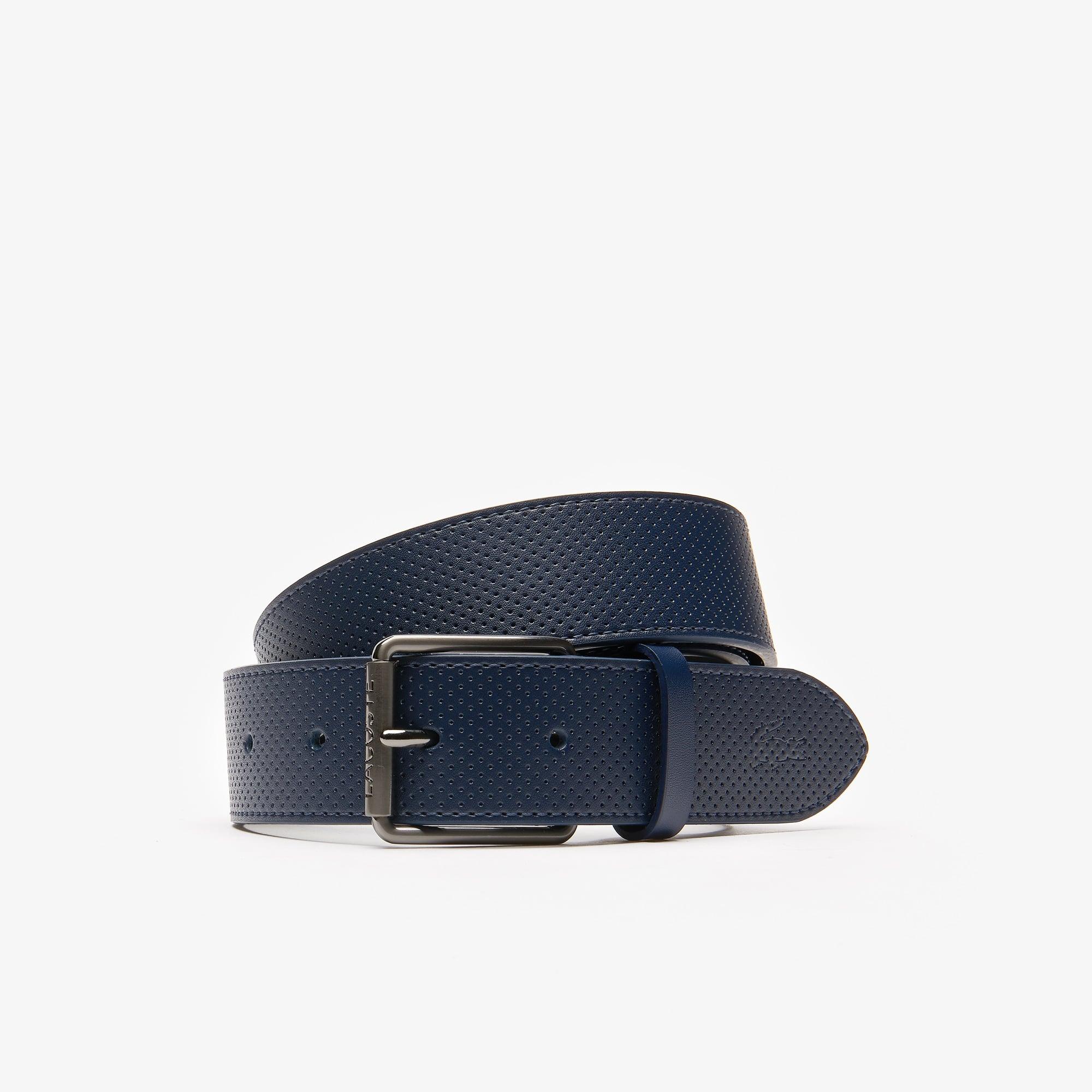 Men's Engraved Buckle Leather Belt