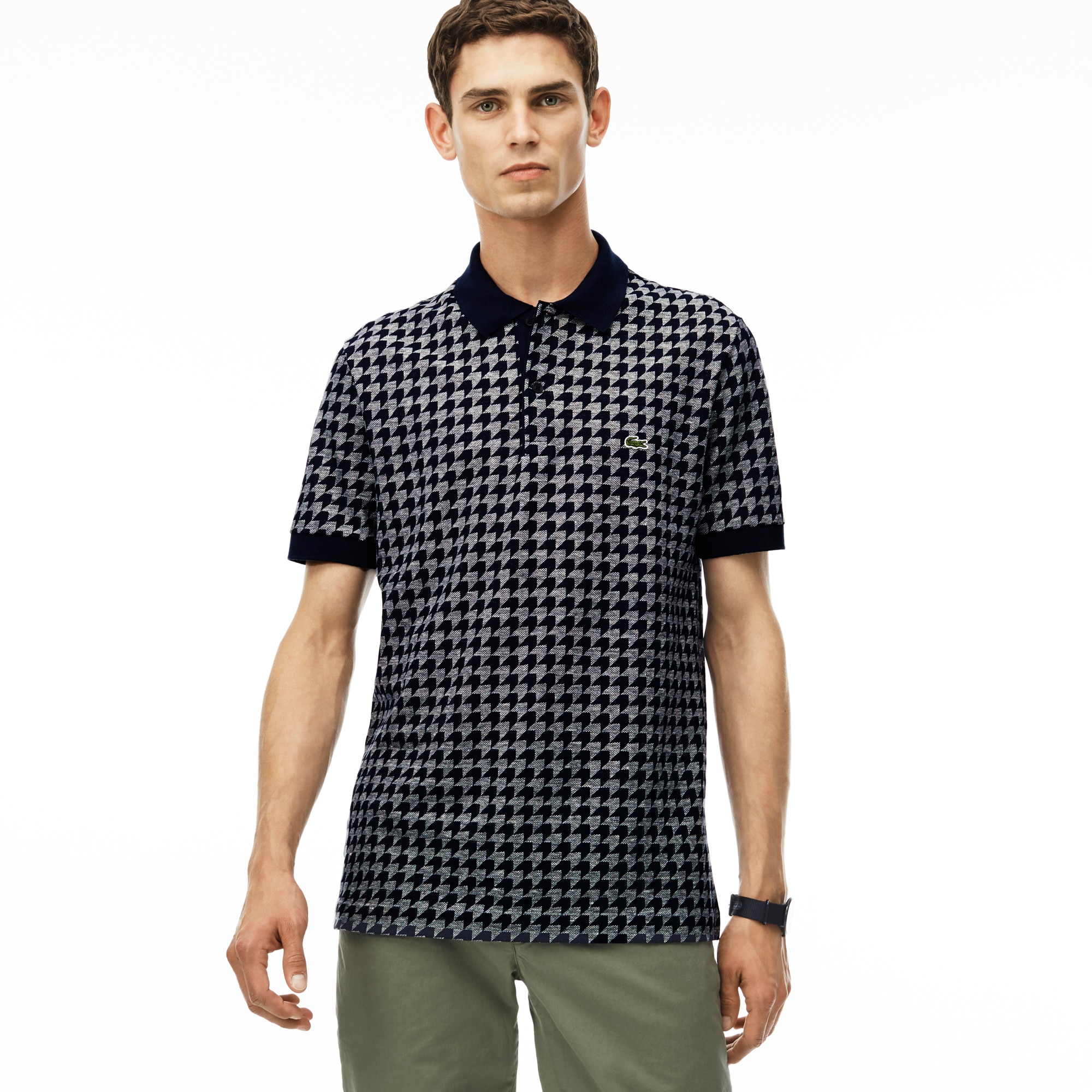 Men's Regular Fit Piqué Polo Houndstooth Print Caviar Shirt